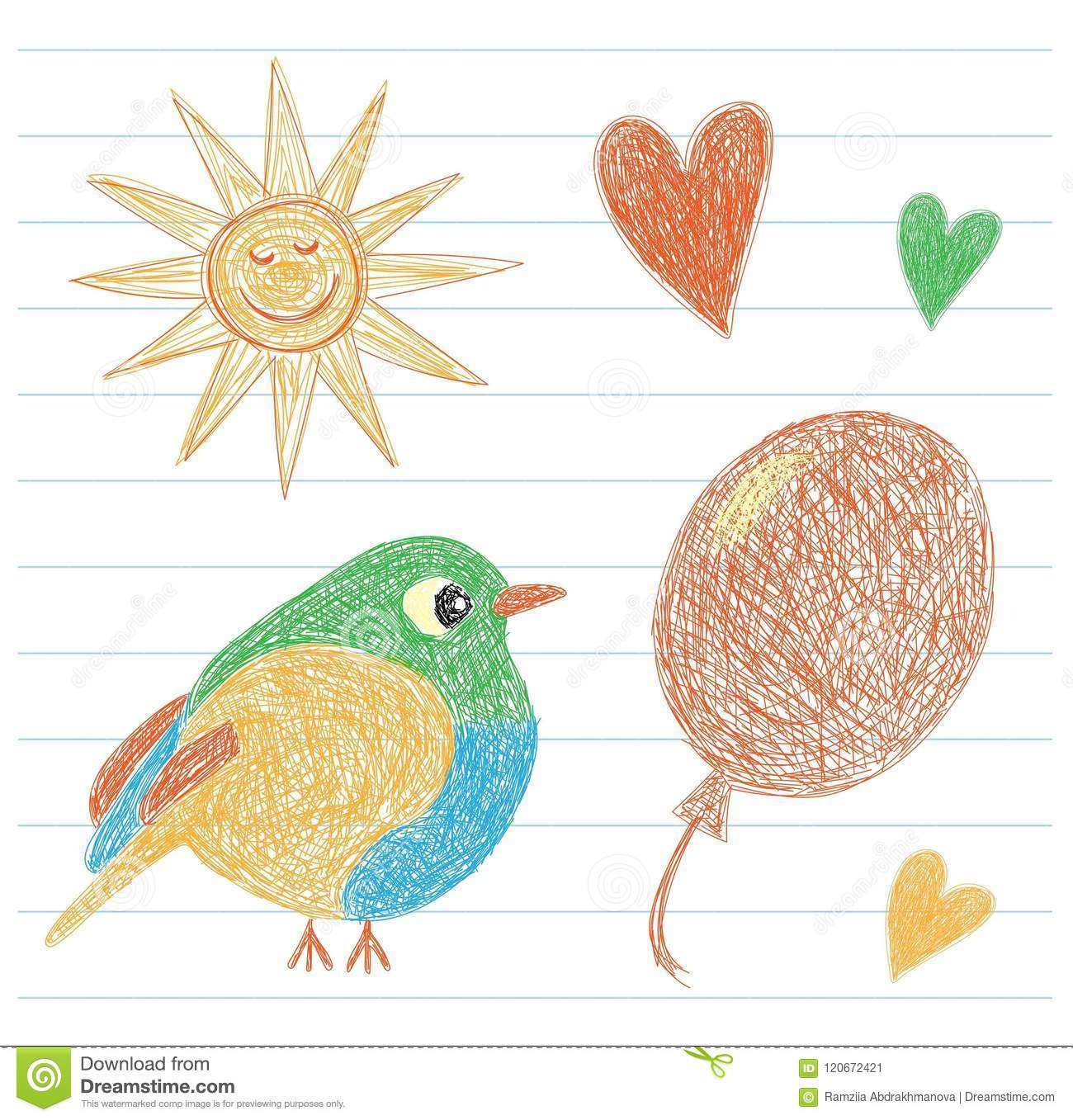 Kids drawing sun bird balloon and heart color pencil hand drawn funny doodle sketch vector scribble of the little child