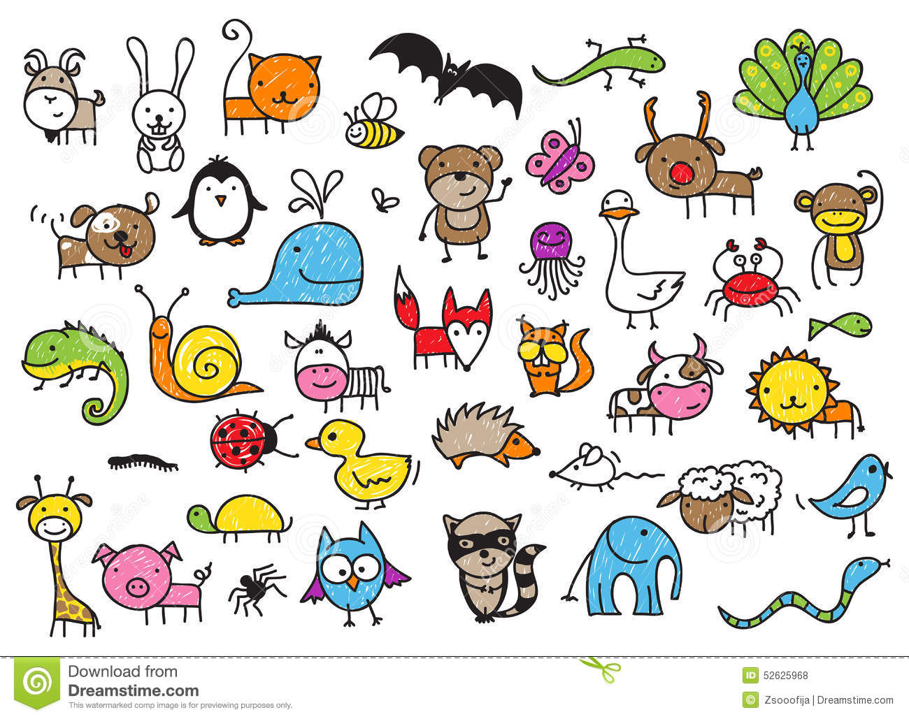 Kids Drawings Of Animals Stock Vector Image 52625968