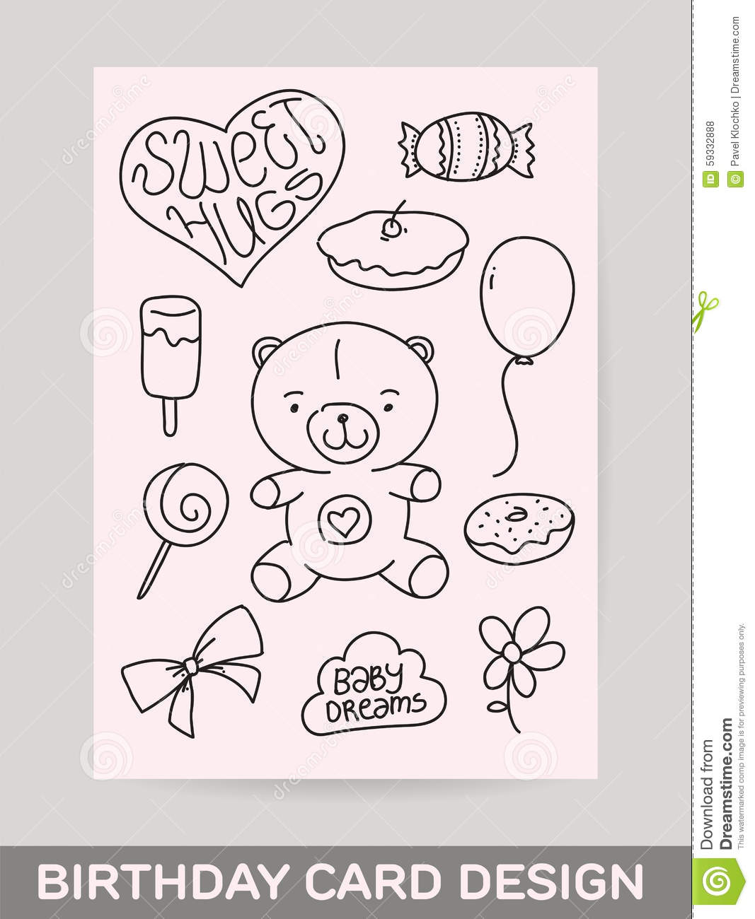 Kids Hand Drawn Greeting Card Design With Doodle Stock Vector