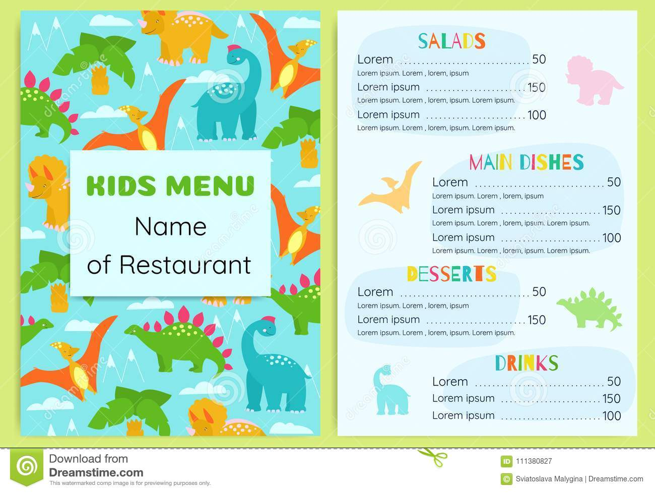 kid s menu with dinosaurs design vector template stock vector