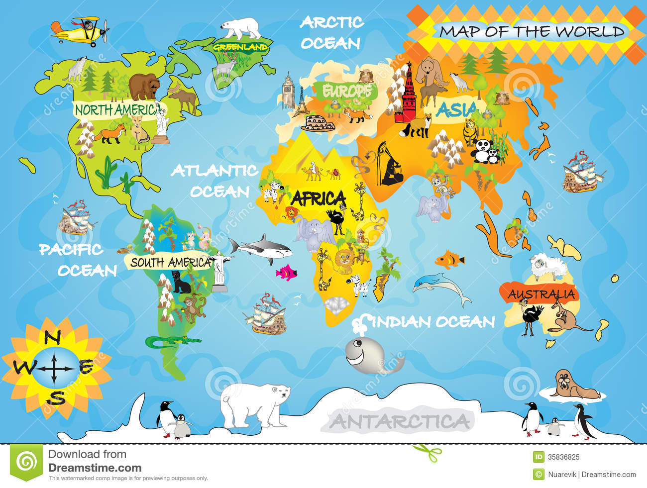 Kids world map stock illustration illustration of eiffel 35836825 kids world map royalty free stock photo gumiabroncs Images
