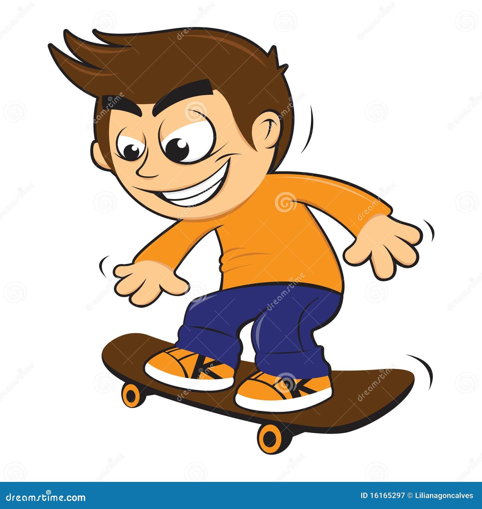 Boy Riding Skateboard Clipart