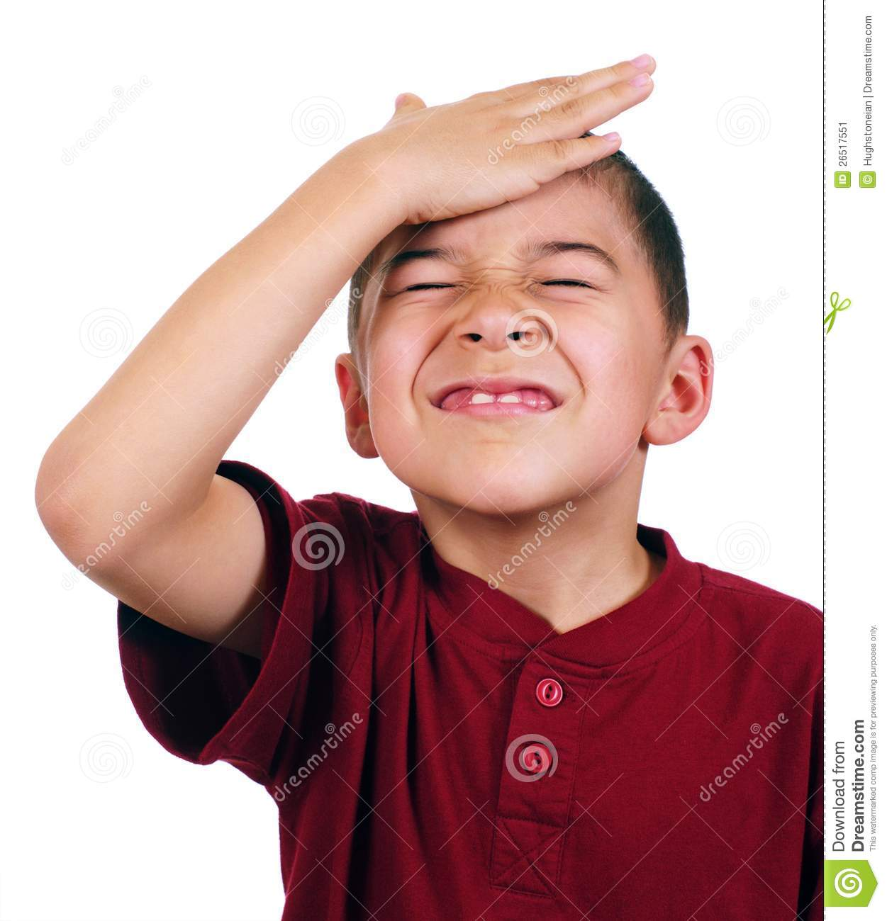 Kid Slaps Himself On Head, Oh-no Stock Image - Image: 26517551