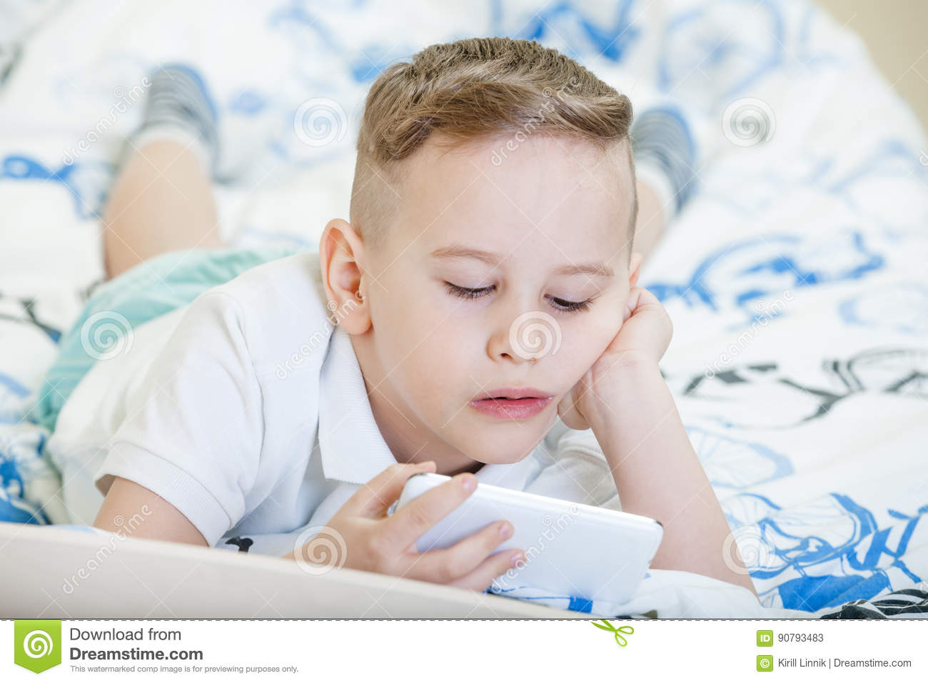 Download Kid with smartphone stock image. Image of home, childhood - 90793483