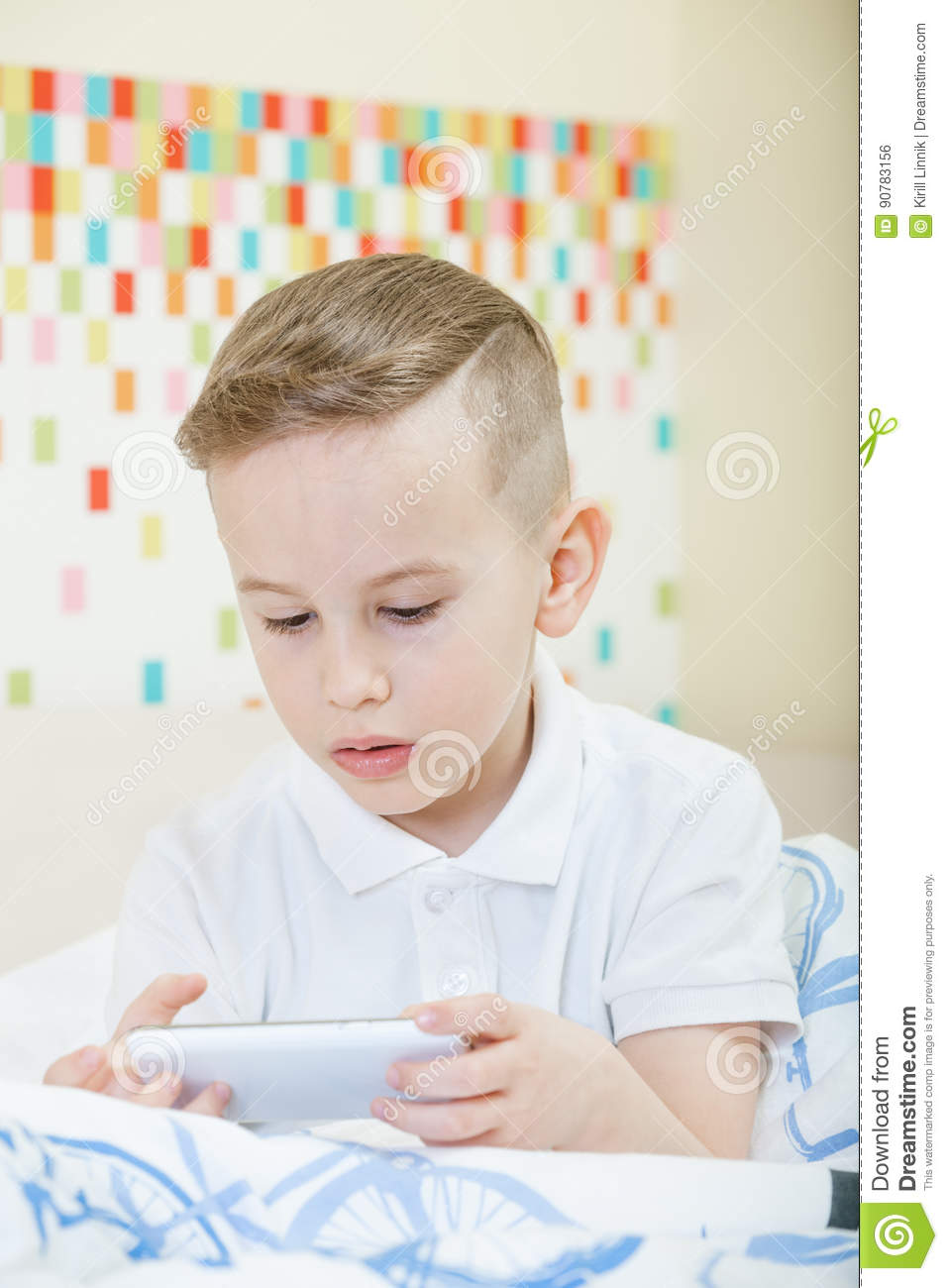Download Kid with smartphone stock photo. Image of little, childhood - 90783156