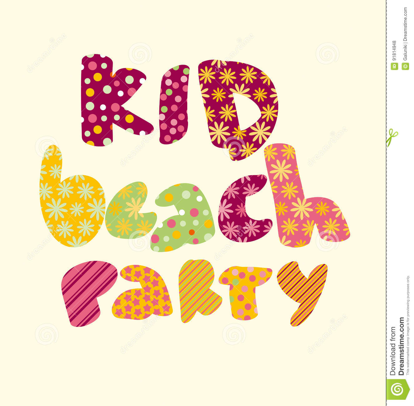 Kid style lettering birthday party vector illustration stock vector kid style lettering birthday party vector illustration bright summer letters for childish header invitation card stopboris Image collections