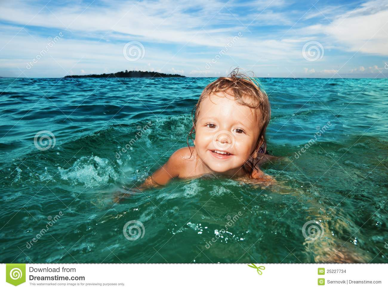 Kid Swimming In The Sea Stock Images Image 25227734