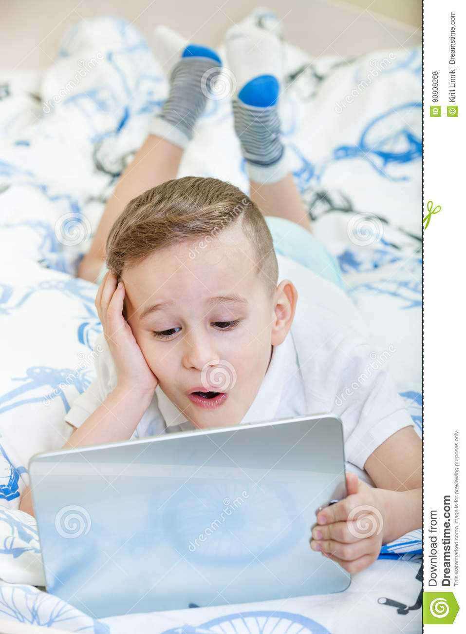 Download Kid with tablet pc stock photo. Image of communication - 90808268
