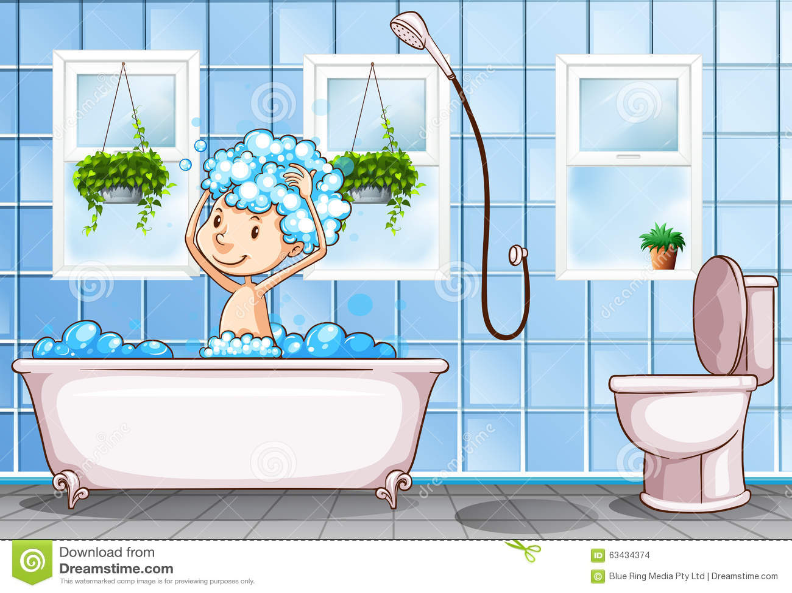Kid Taking Bath In The Bathroom Stock Vector Image 63434374