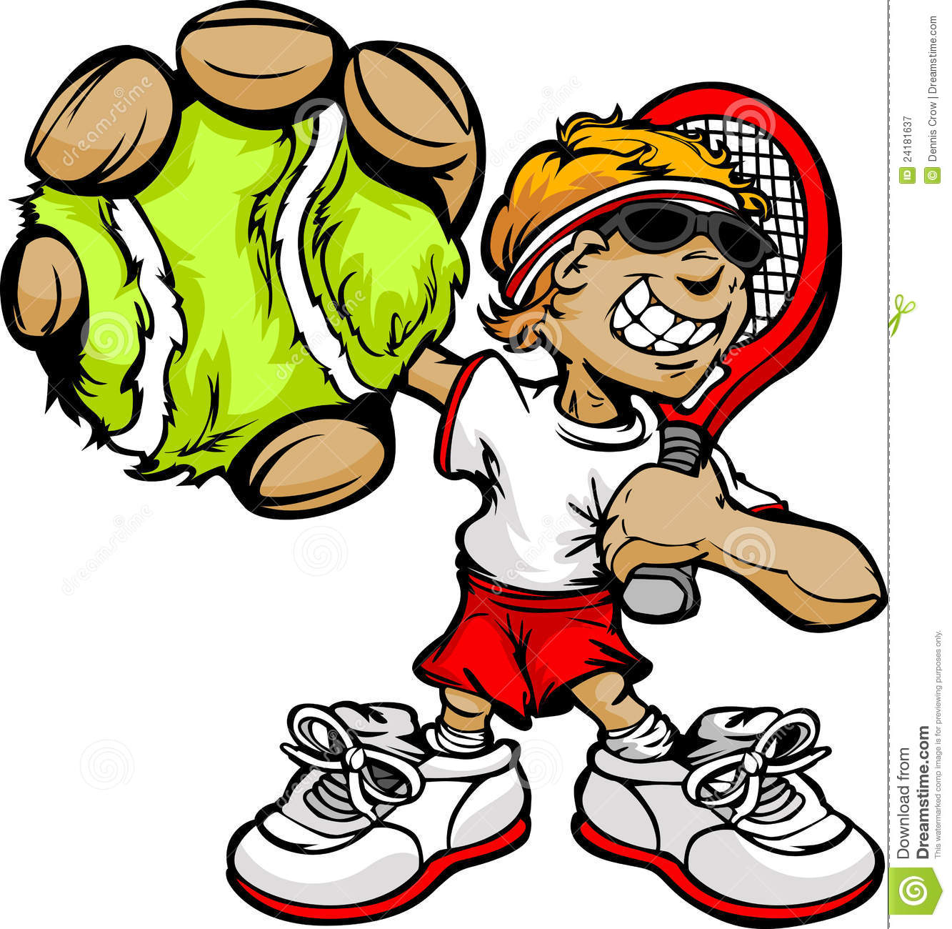 Kid tennis player holding racquet and ball stock vector - Dessin raquette ...