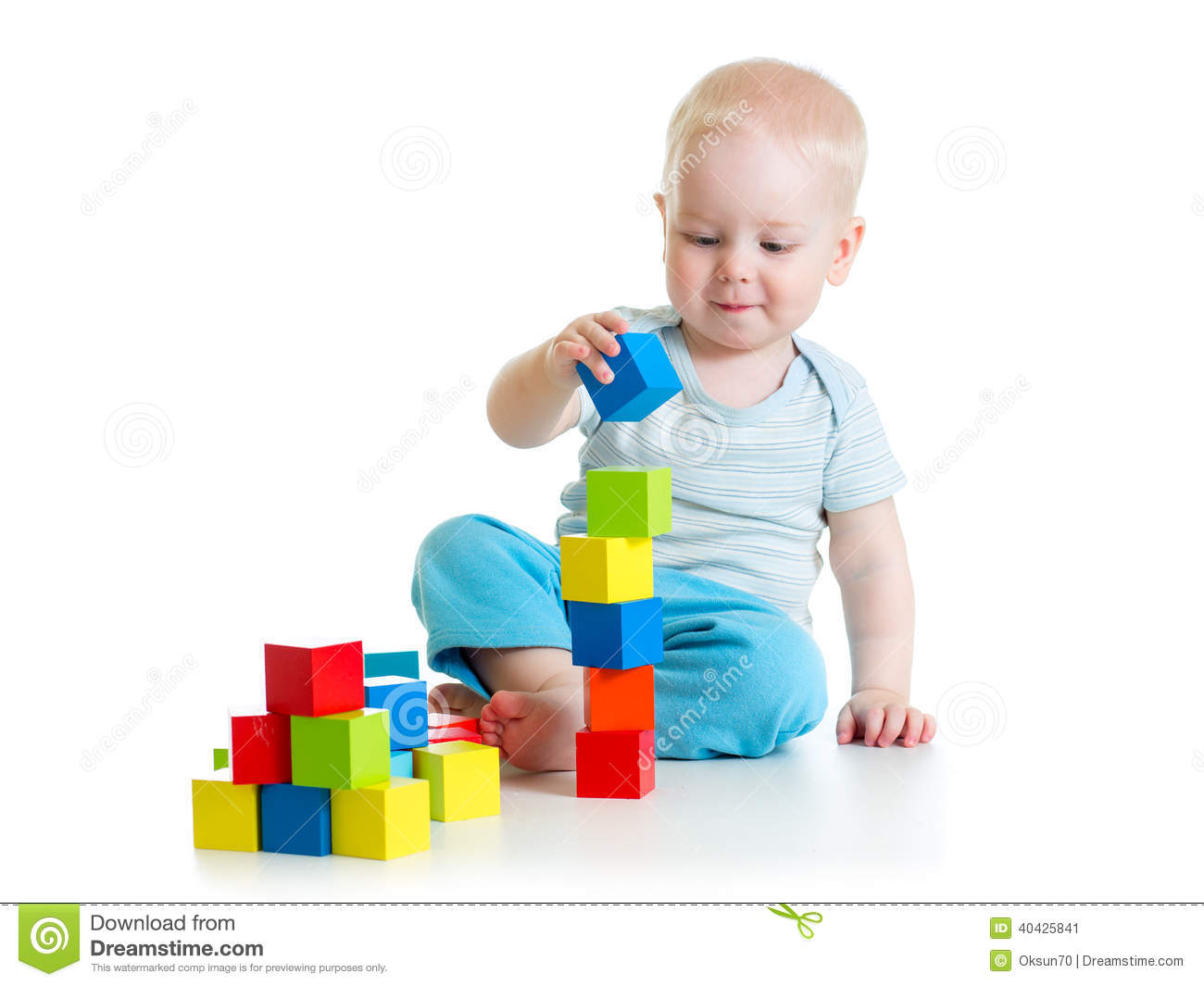 Building Toys For Babies : Kid toddler playing with building block toys stock image
