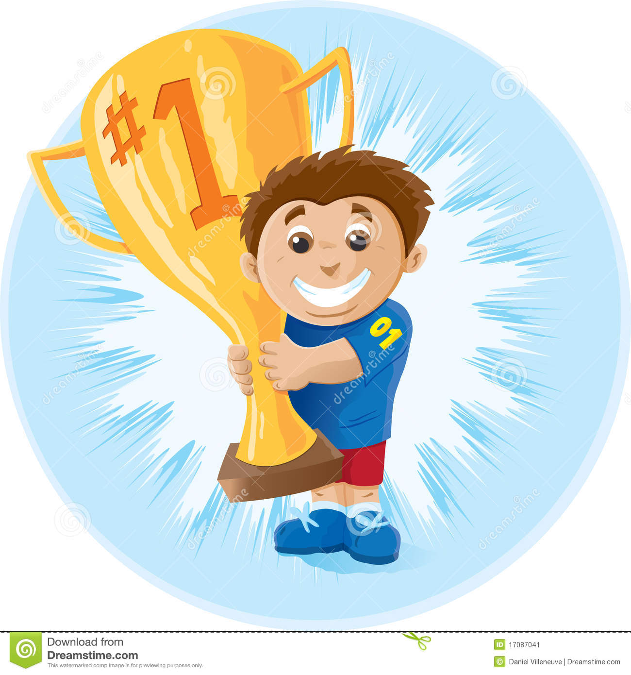 Kid With Trophy Stock Vector Illustration Of First Sport
