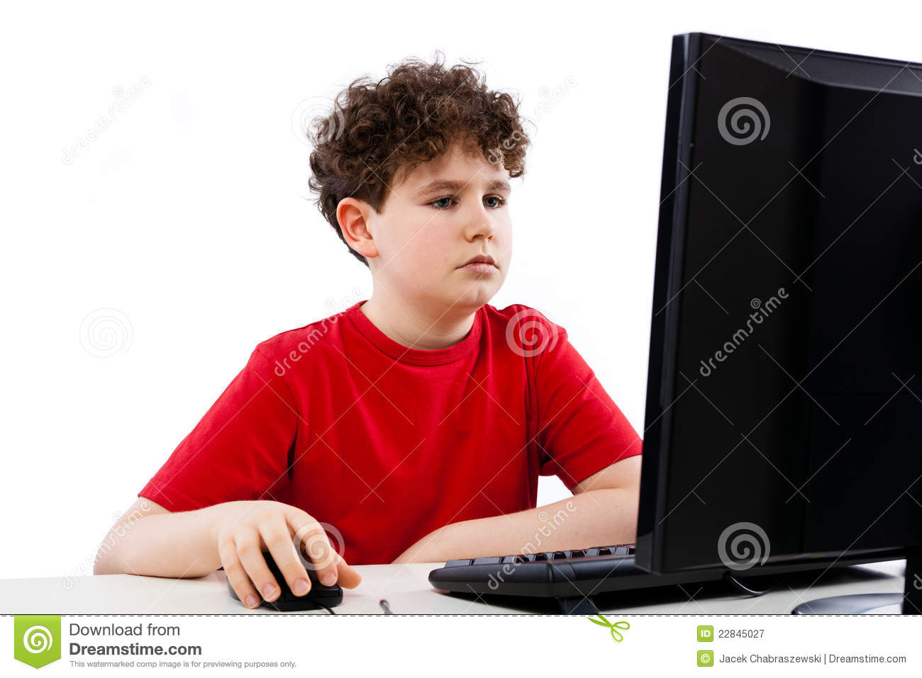 Kid Using Computer Isolated On White Background Royalty