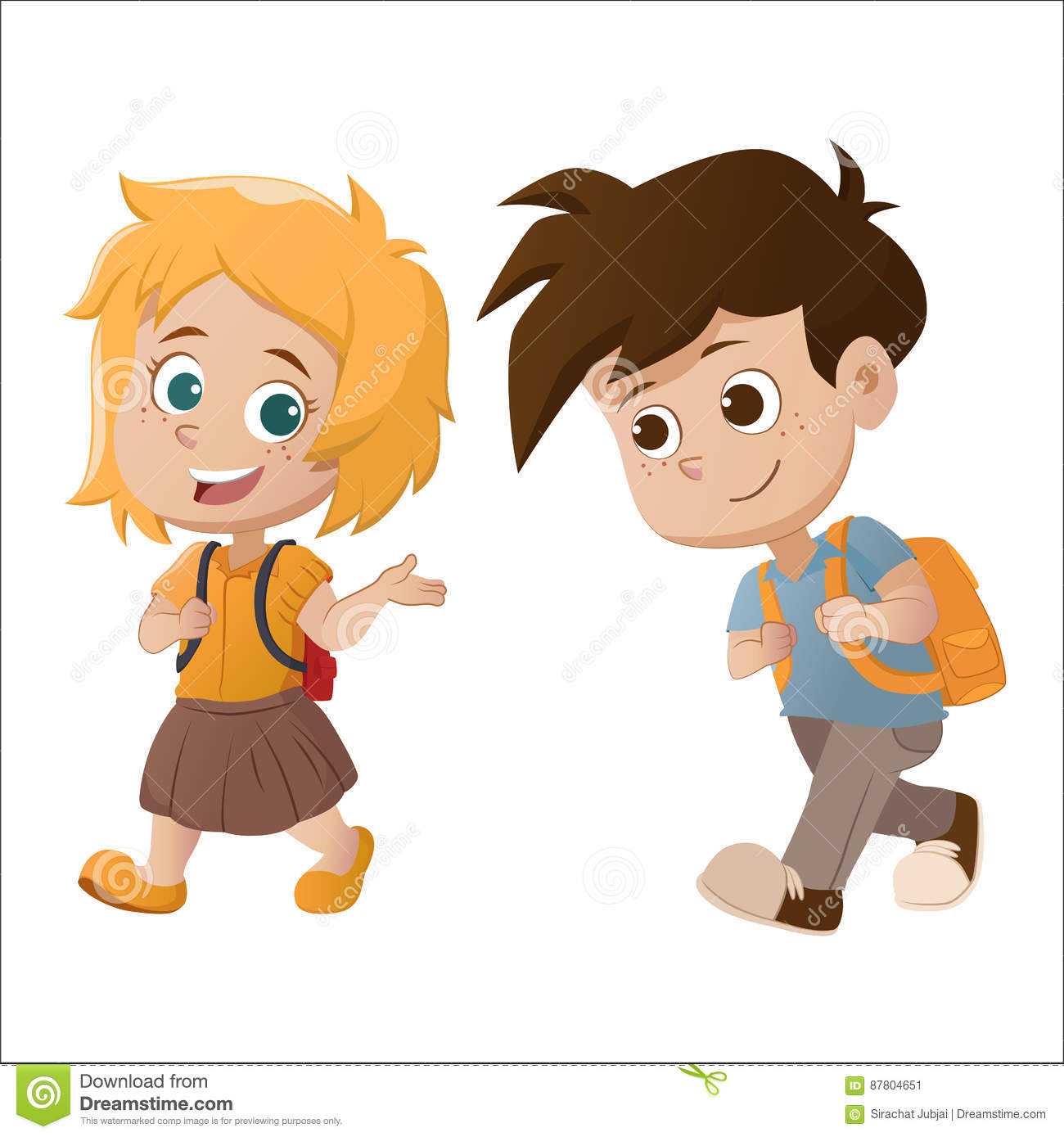 Kid Walking And Talking Back To School Stock Vector