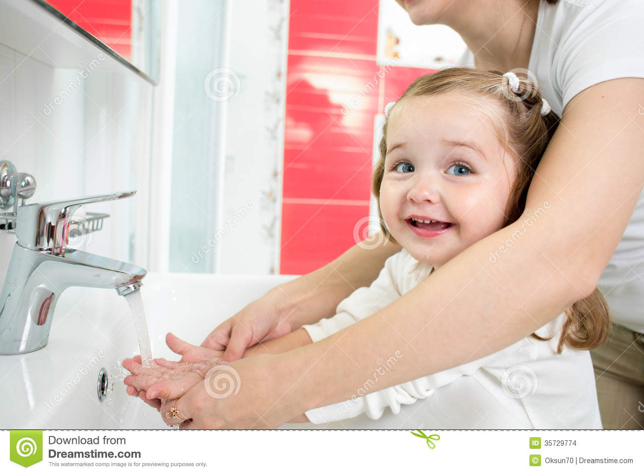 Kid Washing Hands With Mom In Bathroom Stock Photo Image
