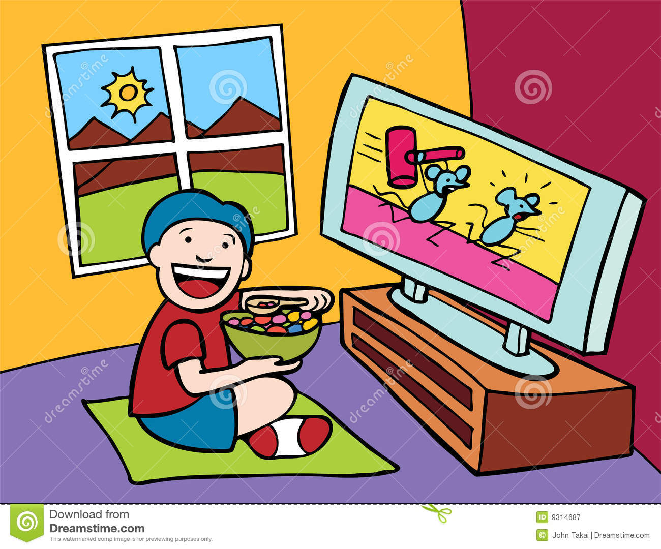 kid watching tv stock vector. illustration of cereal, watching - 9314687