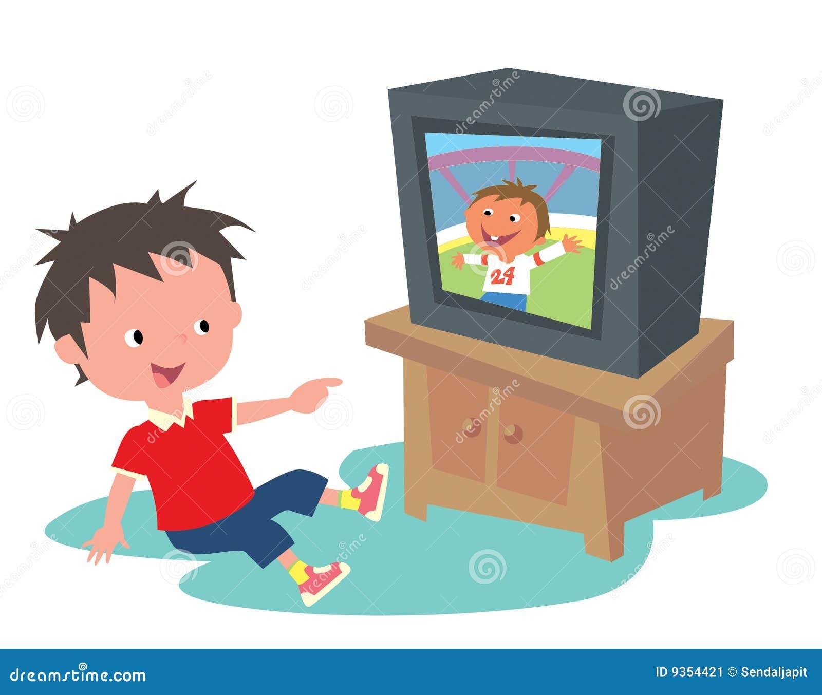 No Quarter Tvshow Time: Kid Watching TV Stock Image