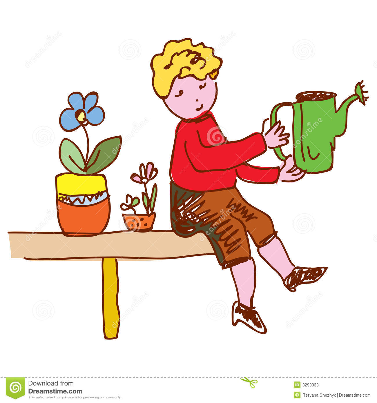Kid Watering Flowers At Home Stock Image - Image: 32930331