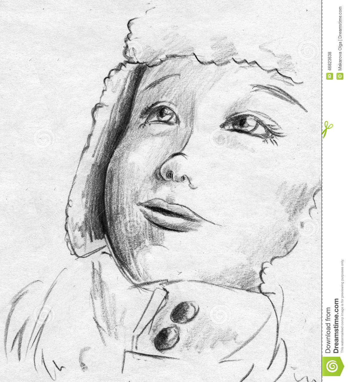 sketch of a child   girl or boy   wearing warm clothes and looking up