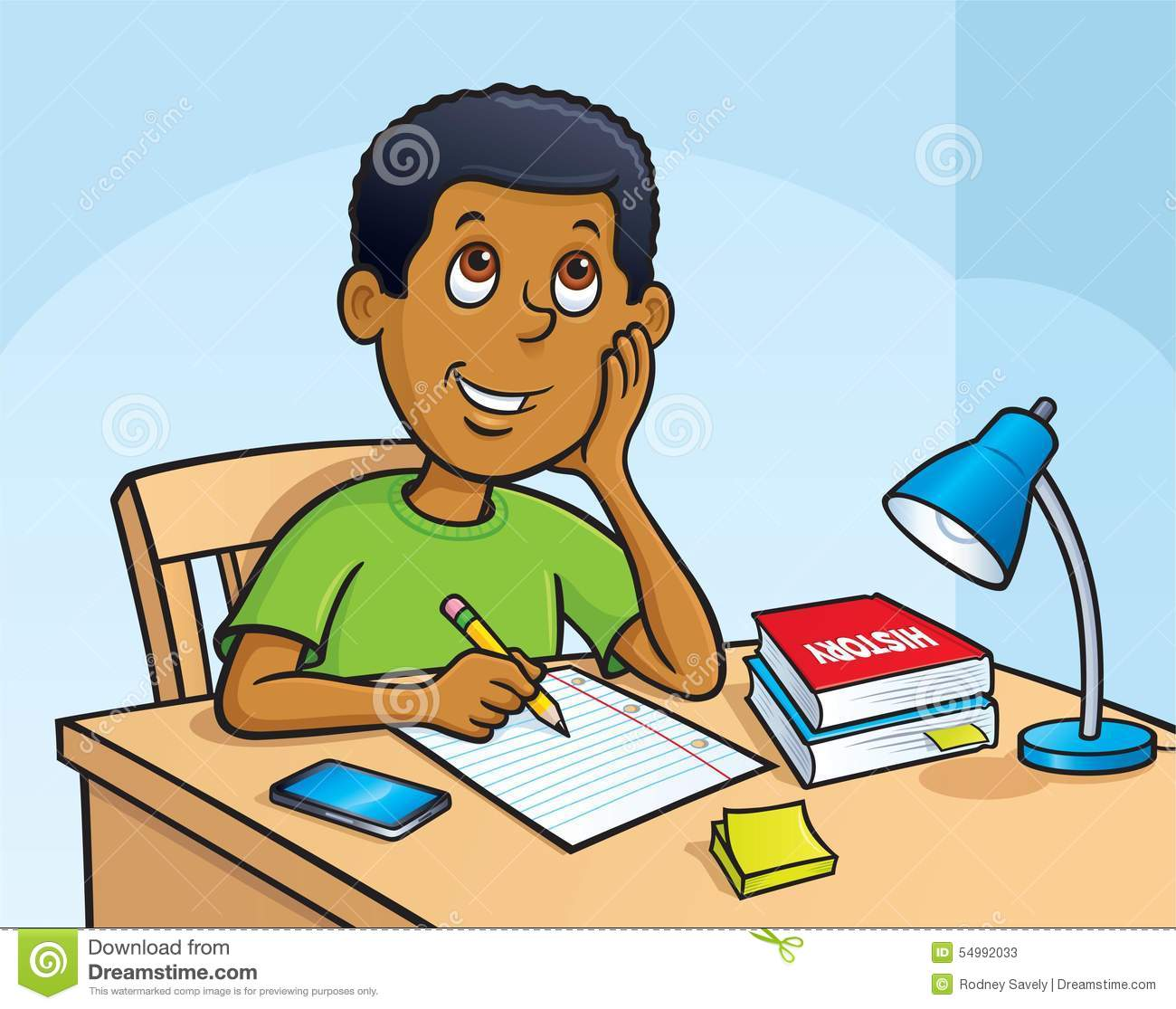 Kid Working On A Homework Assignment Stock Illustration