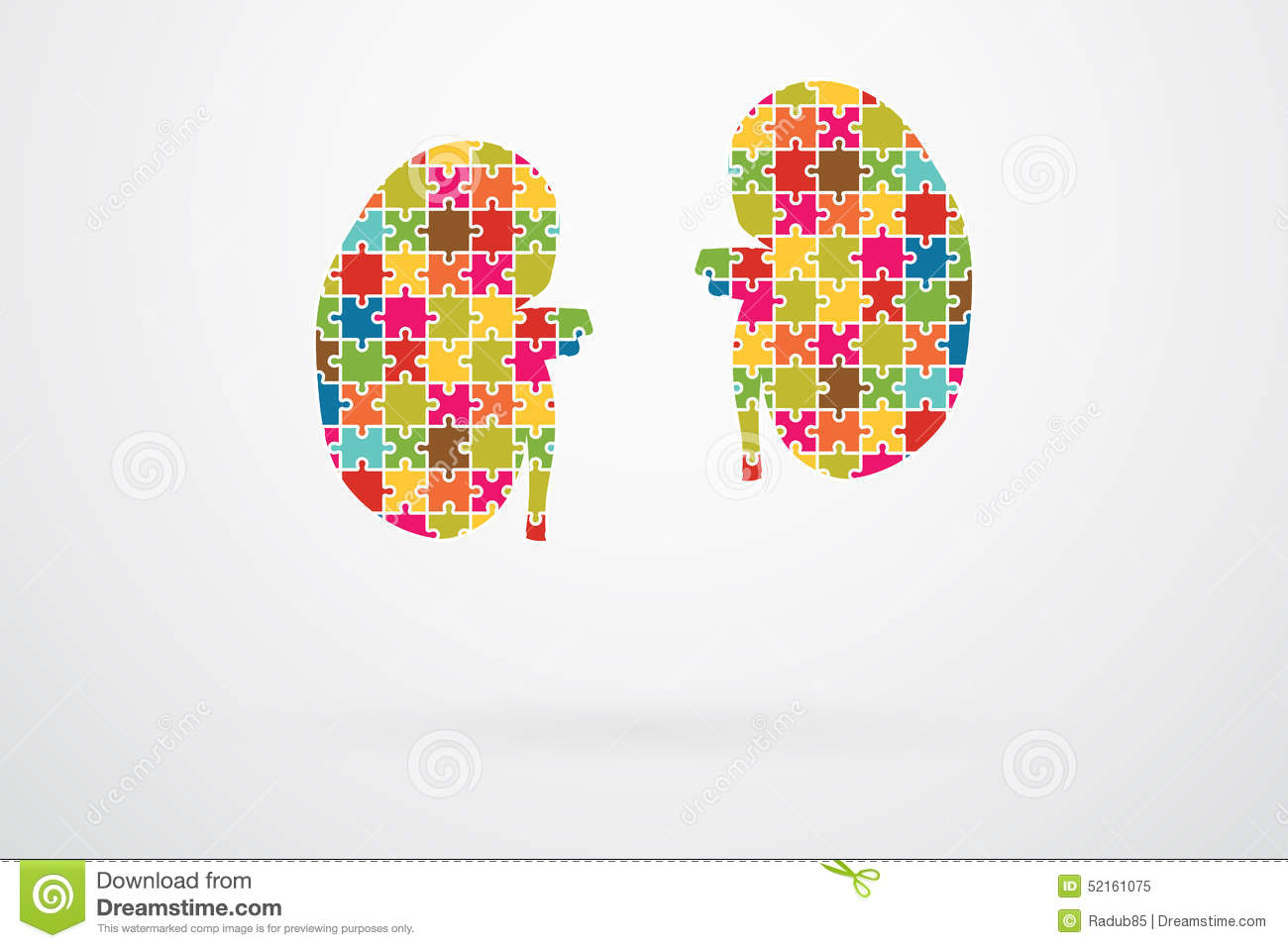 Stock Illustration Kidneys Jigsaw Puzzle Pieces Abstract Image52161075