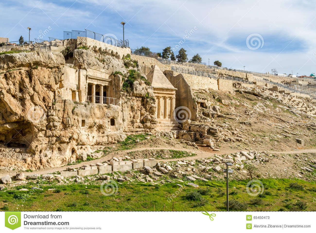 kidron valley or kings valley tomb of zechariah near the old city of