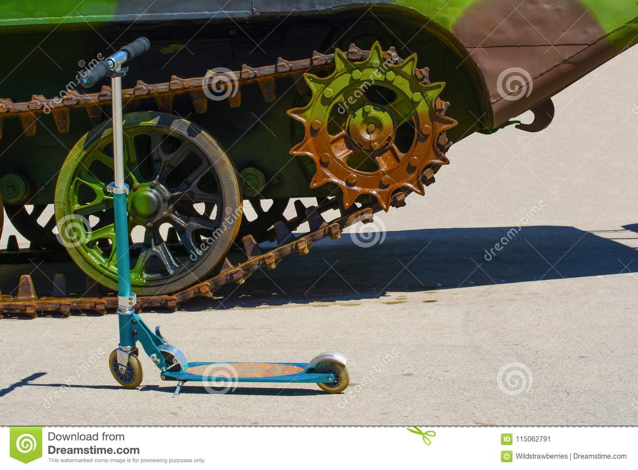 Kids Scooter A Caterpillar Track Of A Military Vehicle Stock Image Image Of Gears Middle 115062791