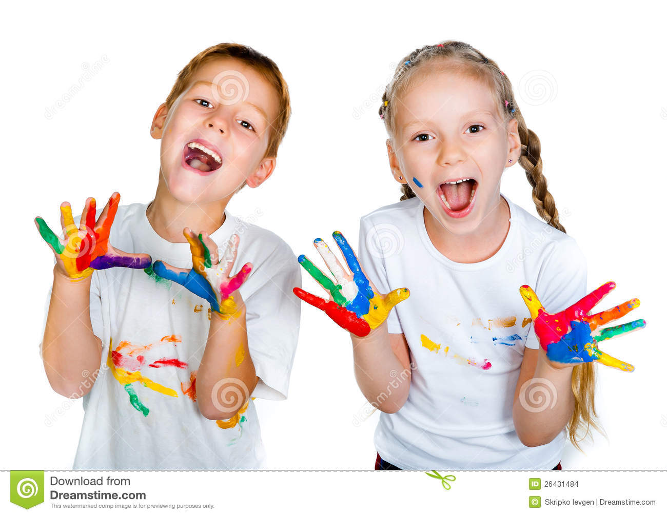 Kids With Hands In Paint