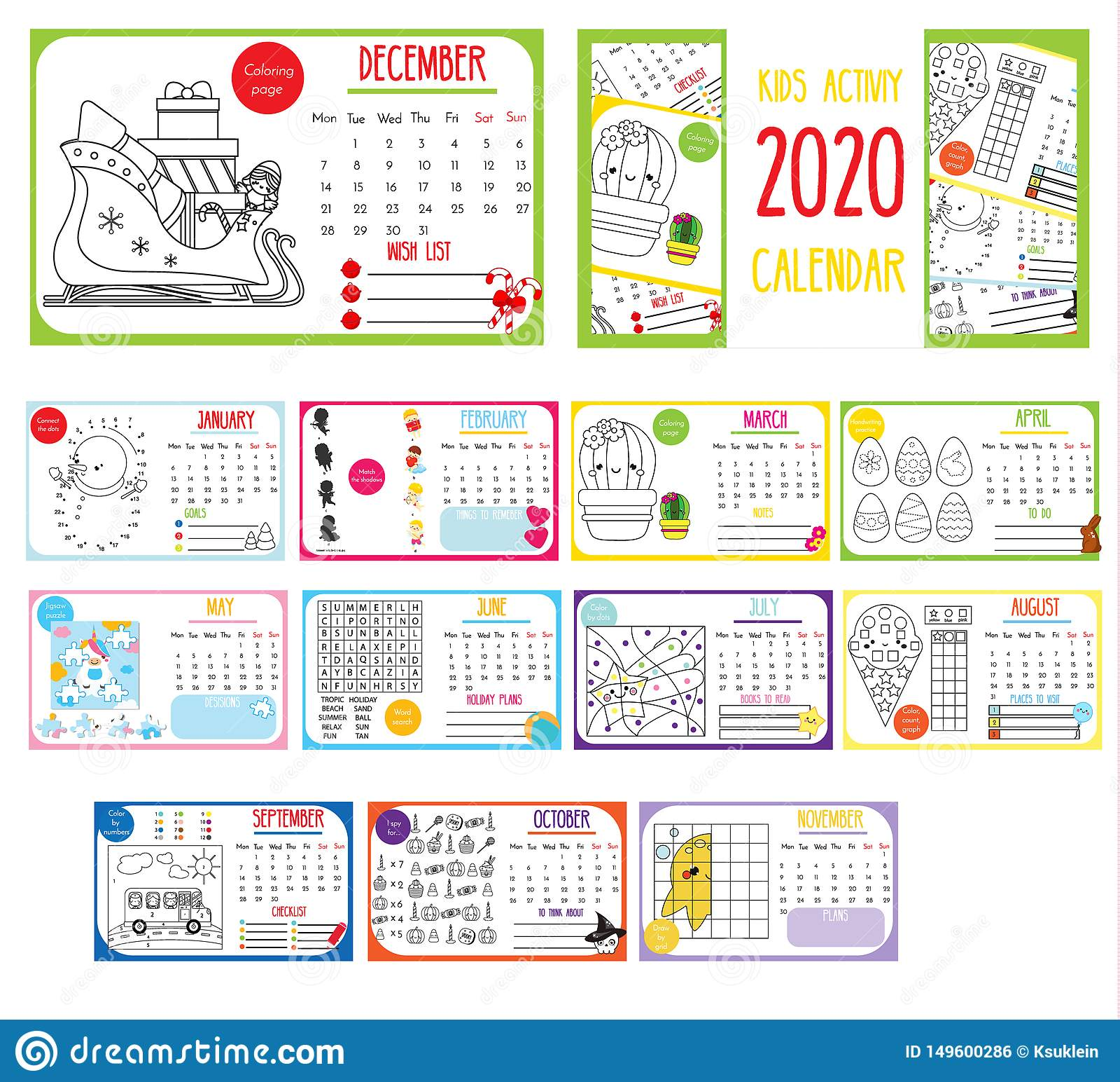 Kids Activity Calendar 2020 Annual Calendar With