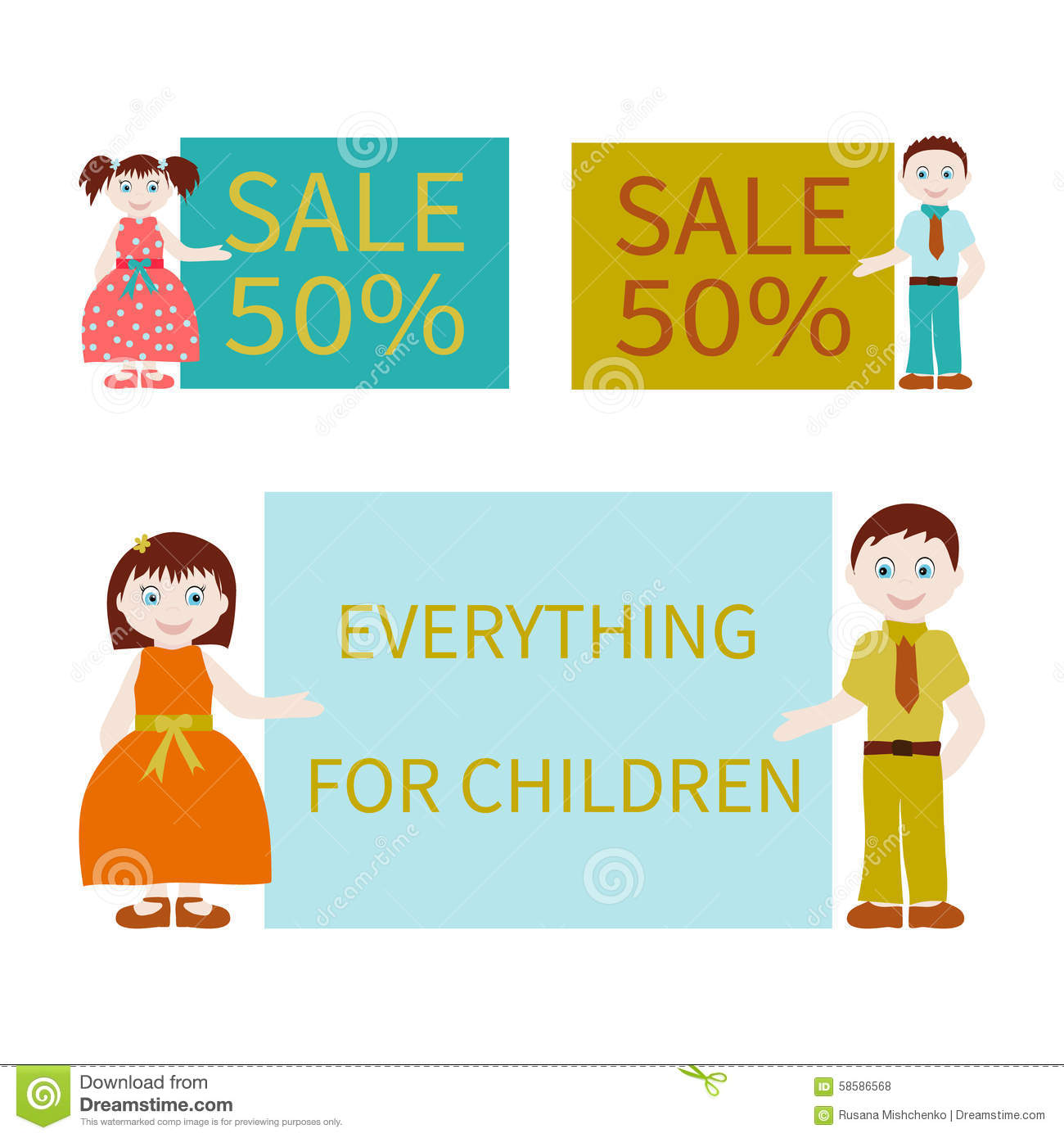 Kids and advertising stock vector. Illustration of ...