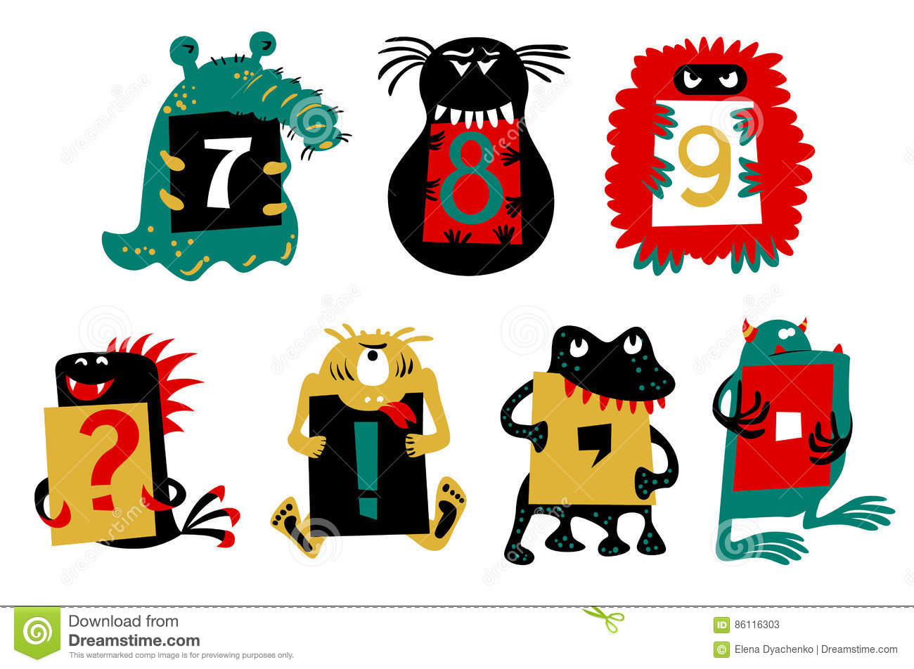Kids alphabet with сcute colorful monsters or insects. Funny fictional character with numbers in their paws.