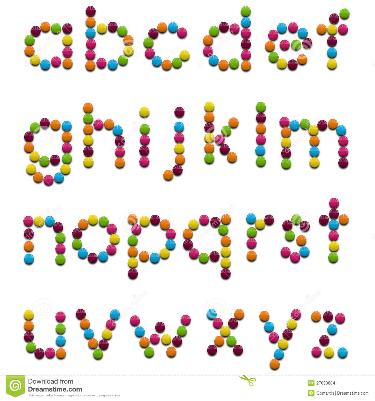 Kids font of colorful candy letters. Clipping path included for easy ...