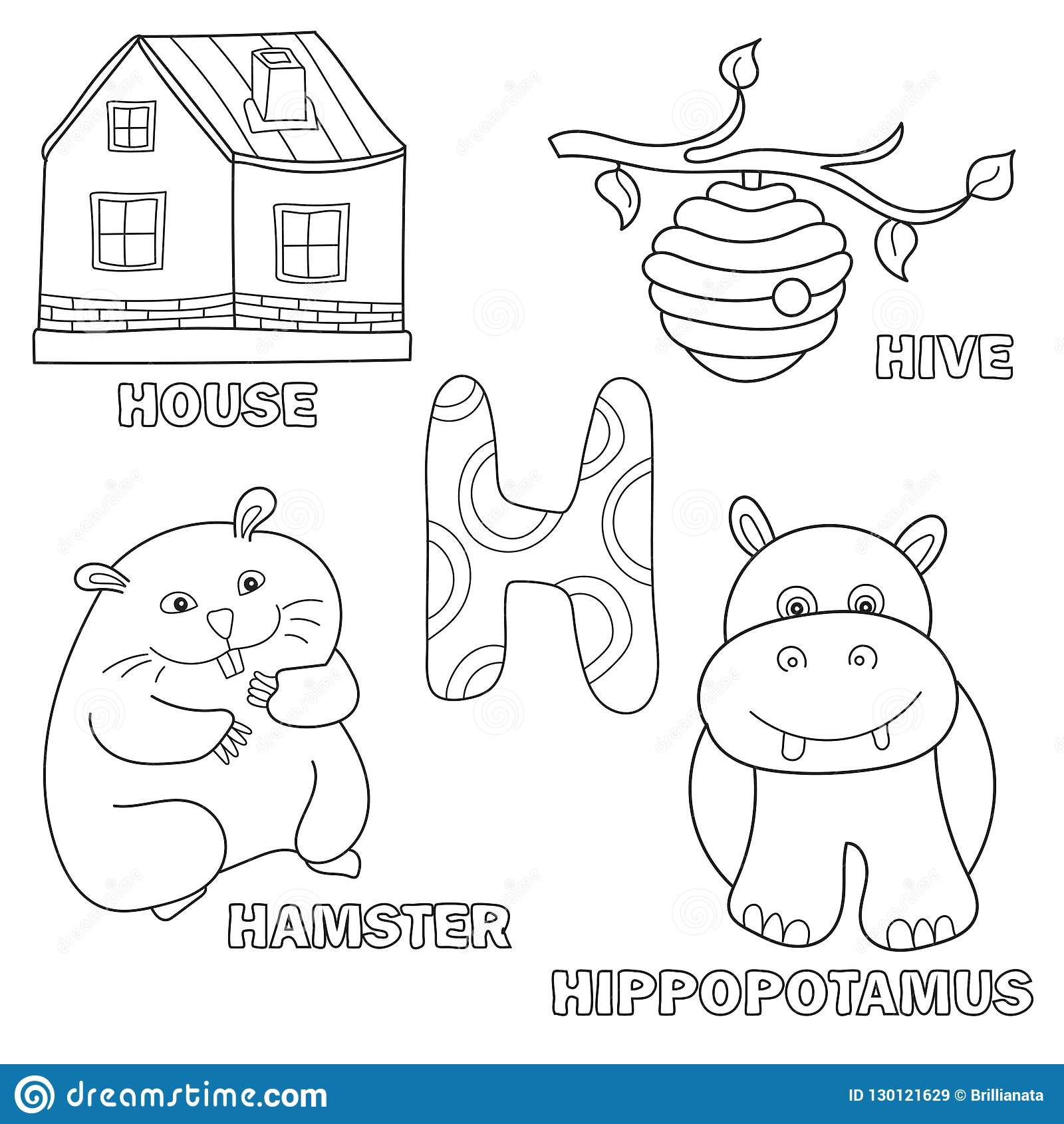 Kids alphabet coloring book page with outlined clip arts. Letter H