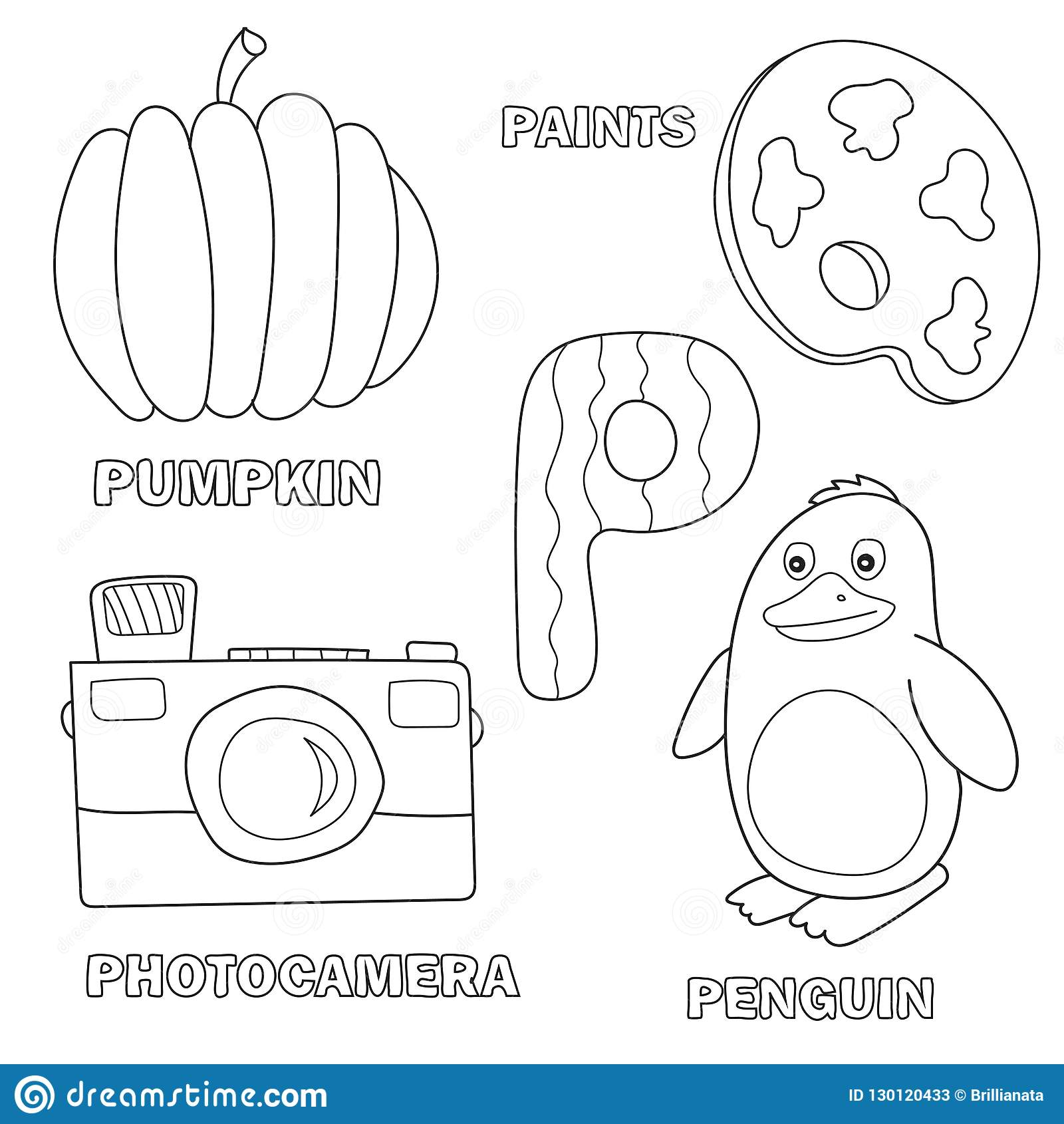 Kids Alphabet Coloring Book Page With Outlined Clip Arts. Letter P ...