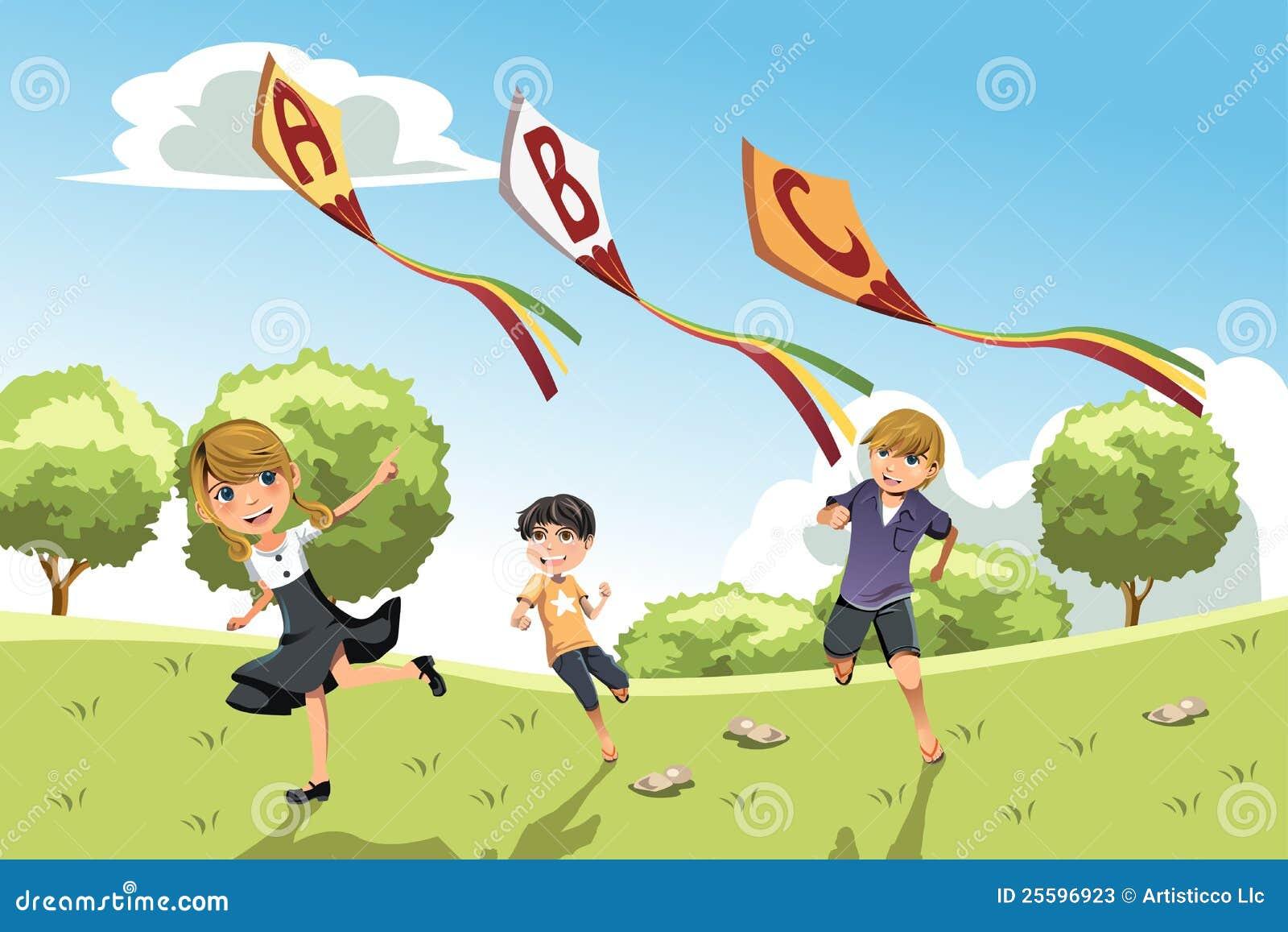 kids with alphabet kites stock photos image 25596923
