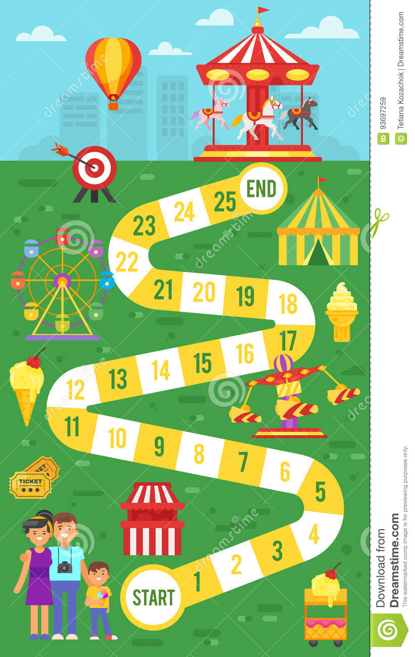 Kids Amusement Park Board Game Template For Print Stock Vector
