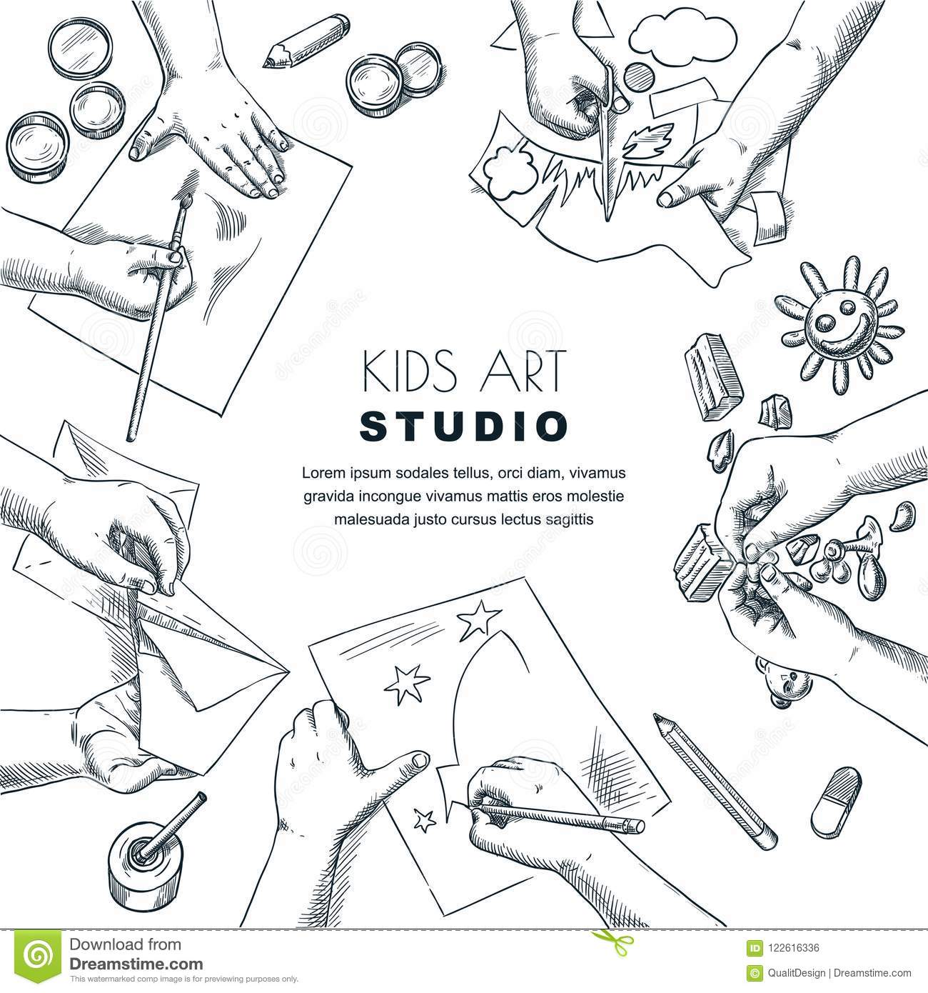 Kids Art Class Work Process Vector Sketch Illustration Of Painting