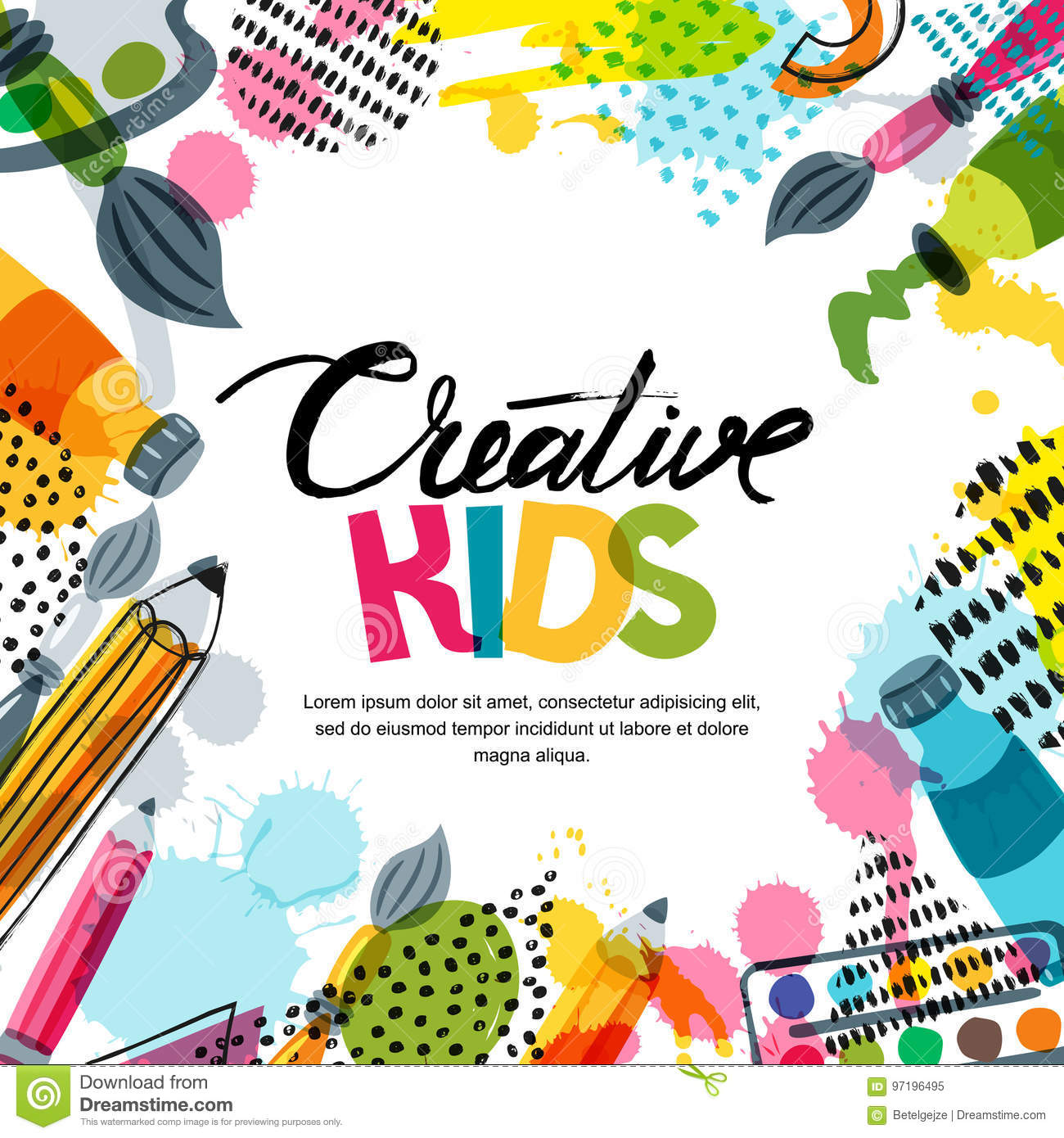 45850704f74b Kids art, education, creativity class concept. Vector banner, poster or frame  background with hand drawn calligraphy lettering, pencil, brush, ...