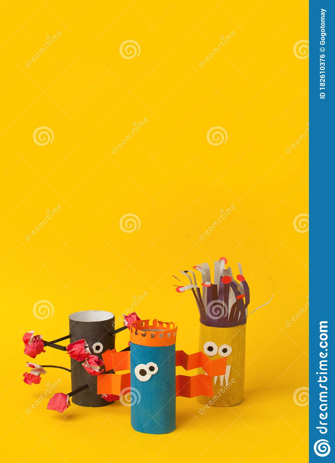 Kids Art Therapy Coronavirus Pandemic Halloween Crafts Paper Monsters On Blue Paper Background With Copy Space For Text Stock Photo Image Of Antistress Creative 182610376