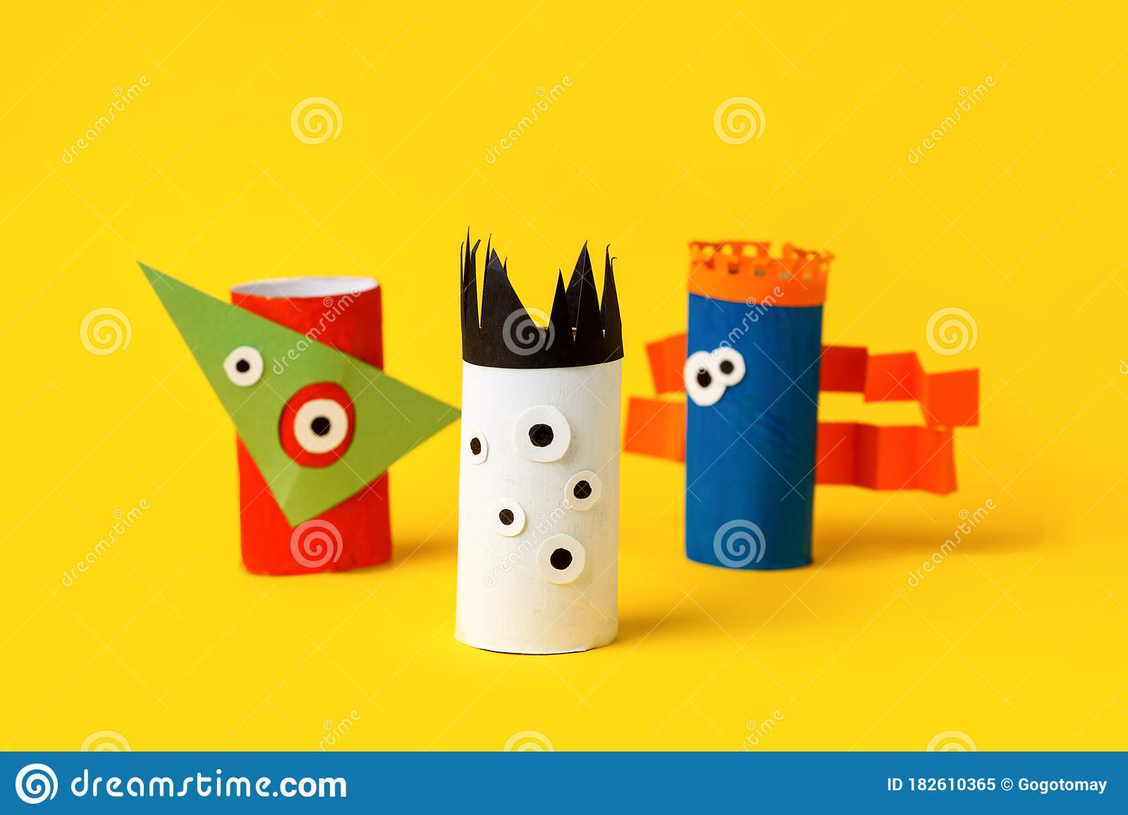 Kids Art Therapy Coronavirus Pandemic Halloween Crafts Paper Monsters On Blue Paper Background With Copy Space For Text Stock Image Image Of Happy Children 182610365