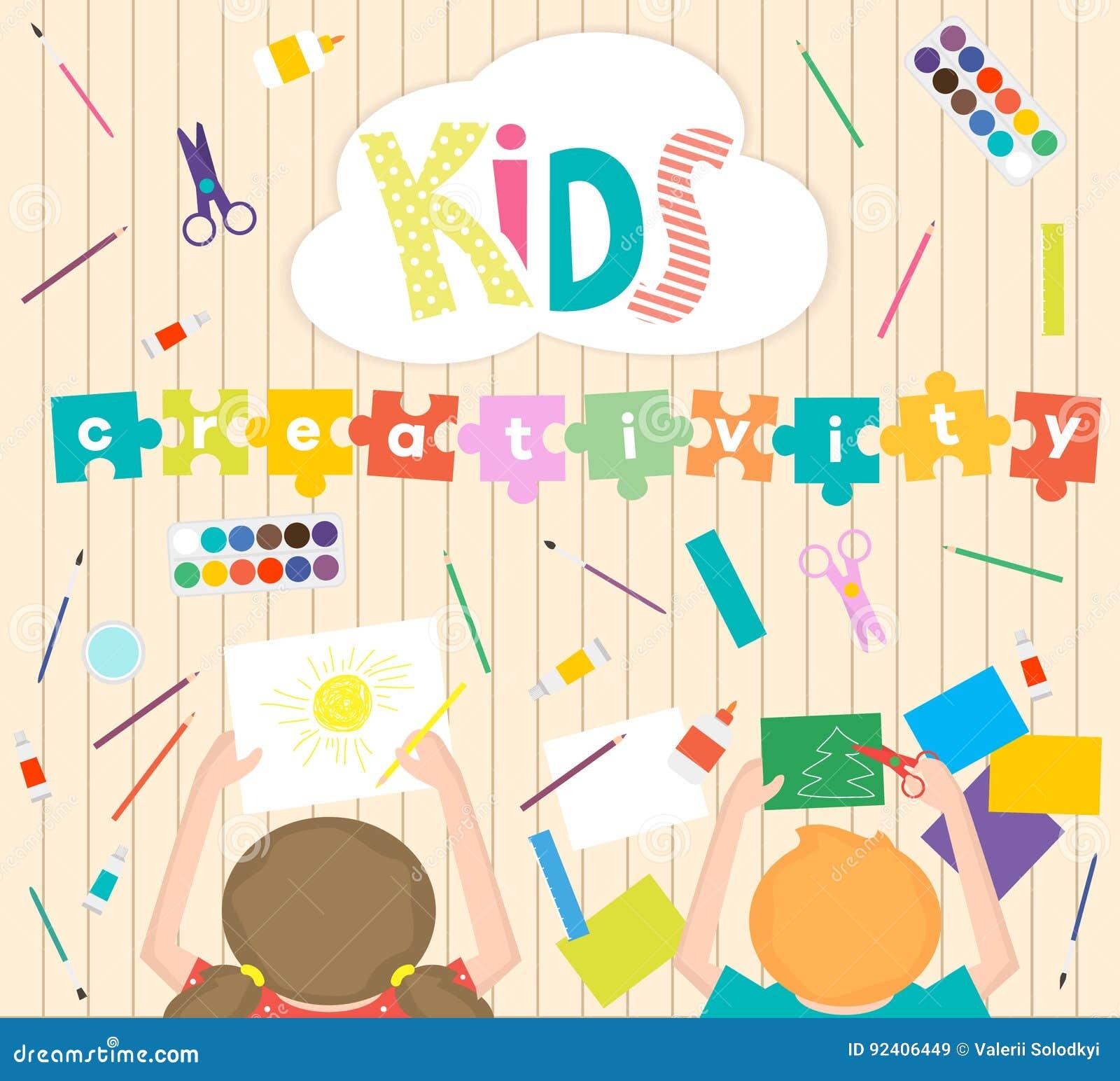 Kids Art Working Process Background Kids Creativity Illustration