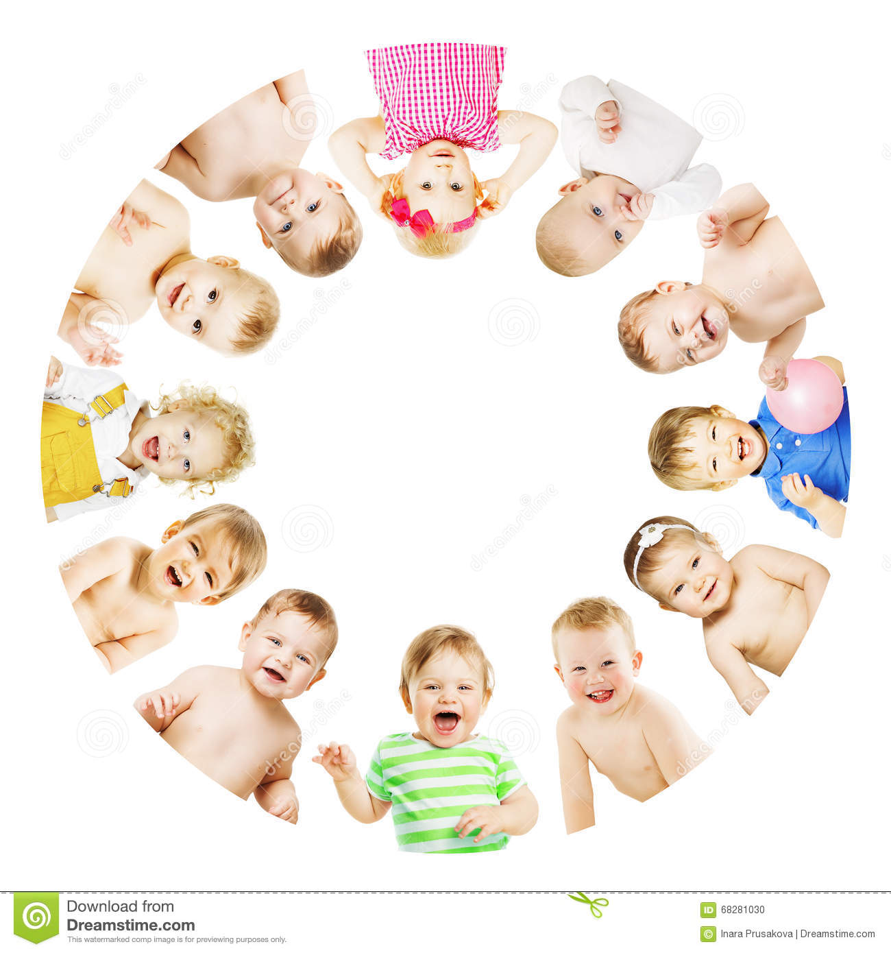 Kids and Babies Group Circle, Children over White