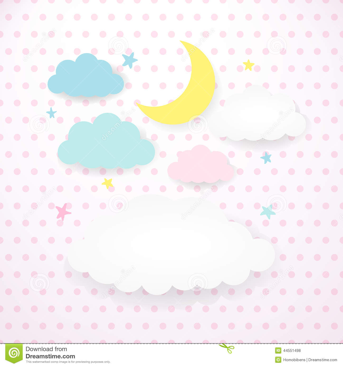 Kids Background With Moon, Clouds And Stars Stock Vector ...