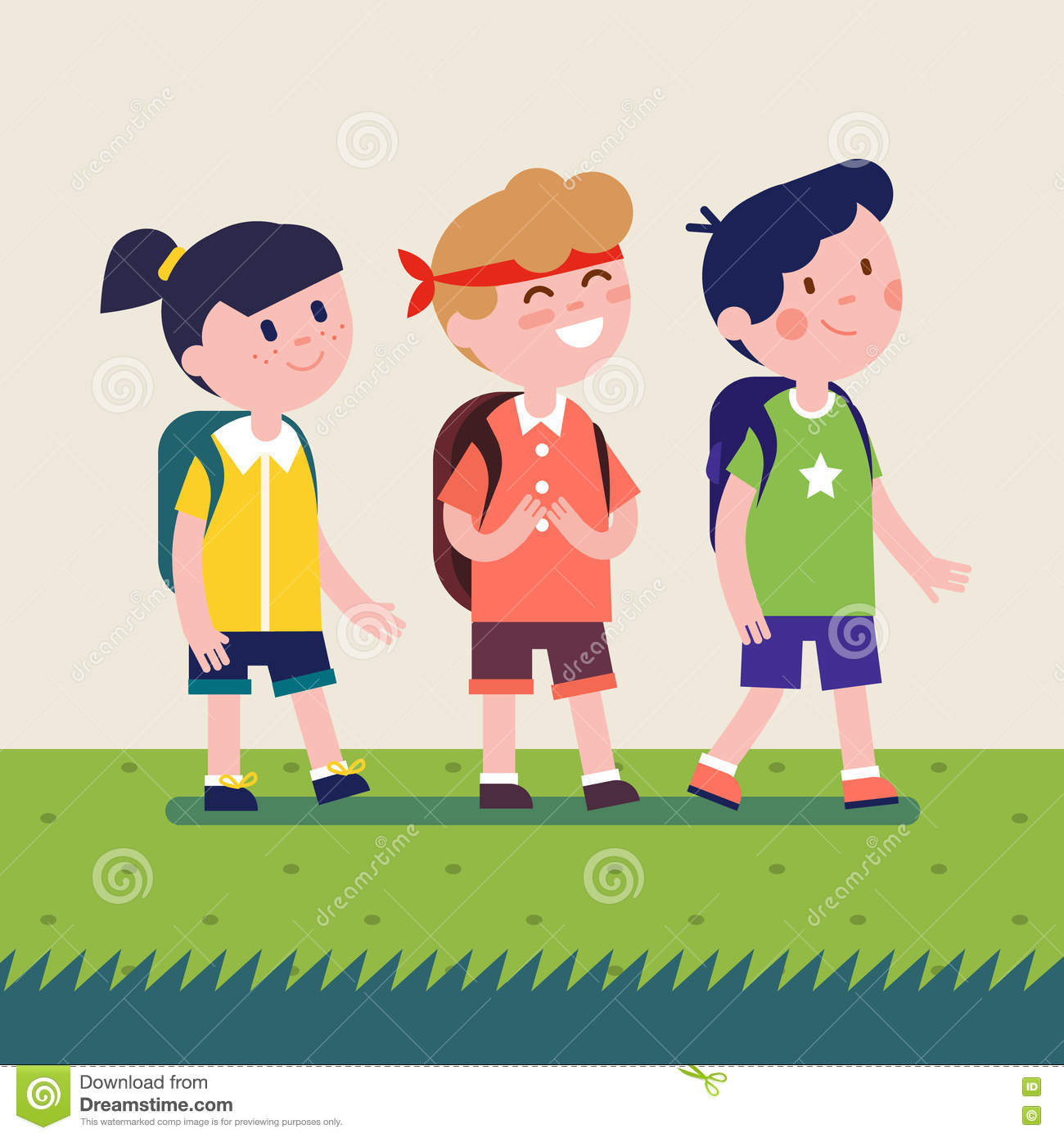 Kids With Backpacks Going On Outdoor Hiking Trip Stock Vector