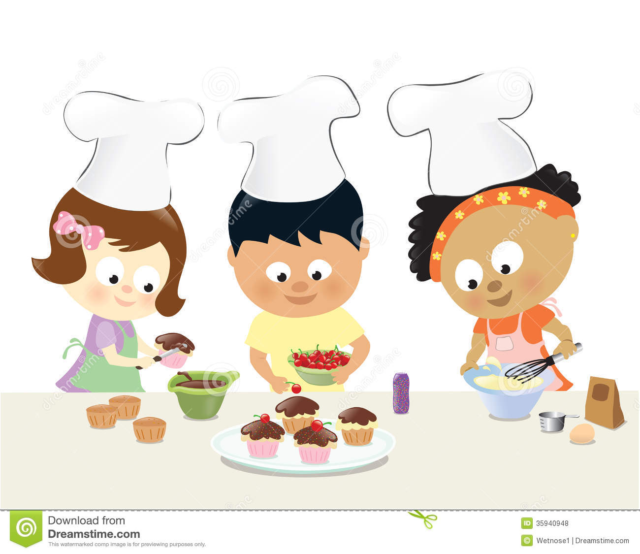 Kids Baking Cupcakes Stock Vector Illustration Of Asian