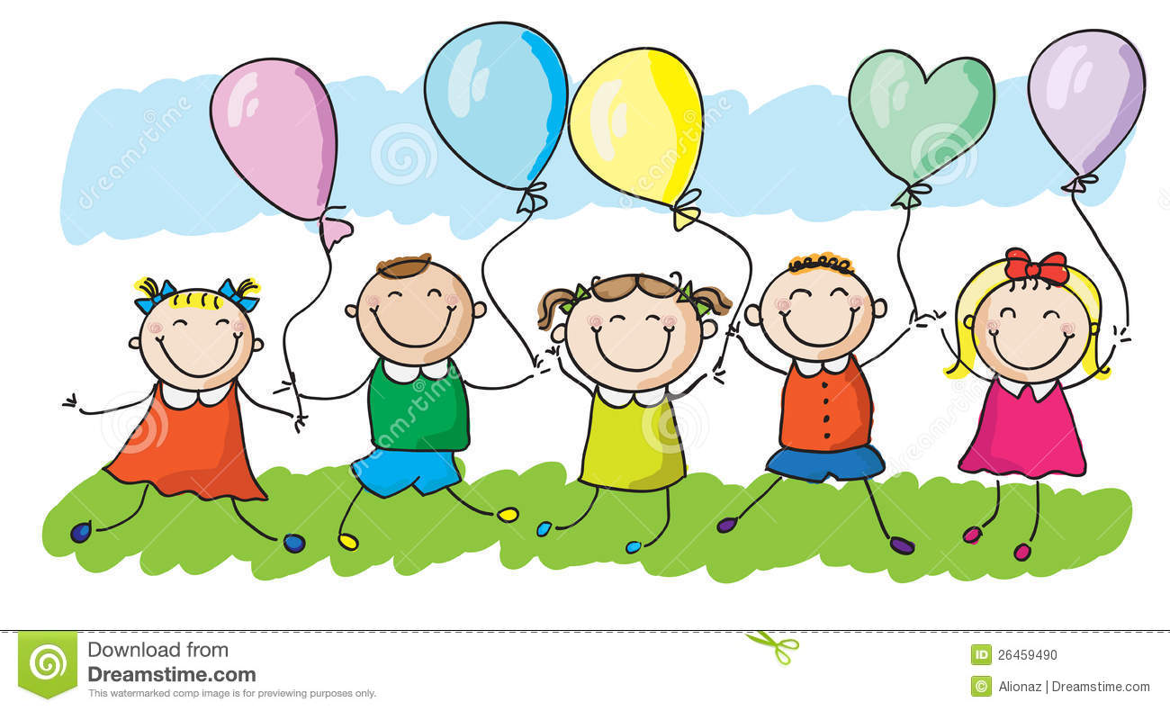 kids with balloons stock vector image of childhood birthday clip art images for friends Friendship Happy Birthday Clip Art