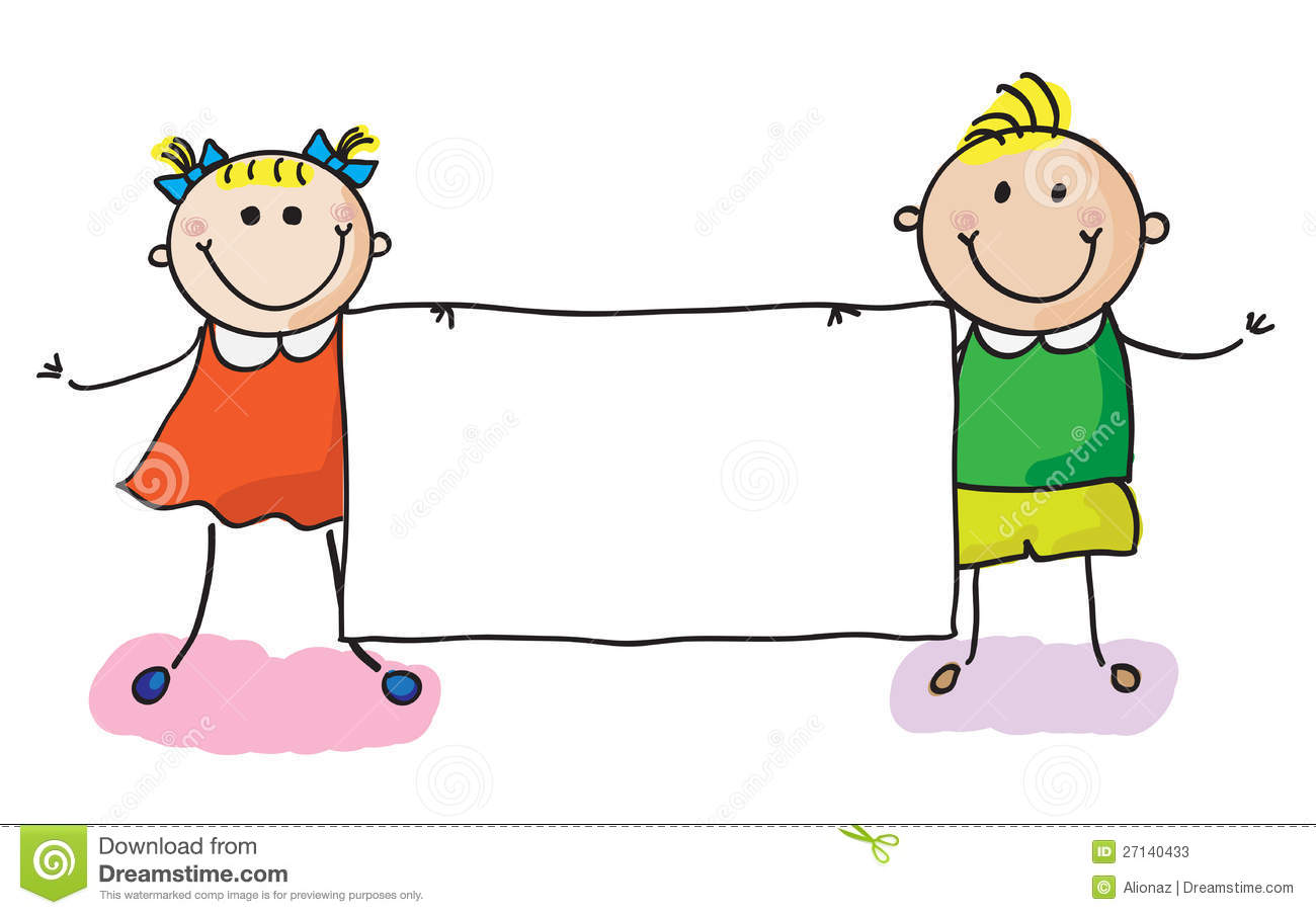 Kids with banner