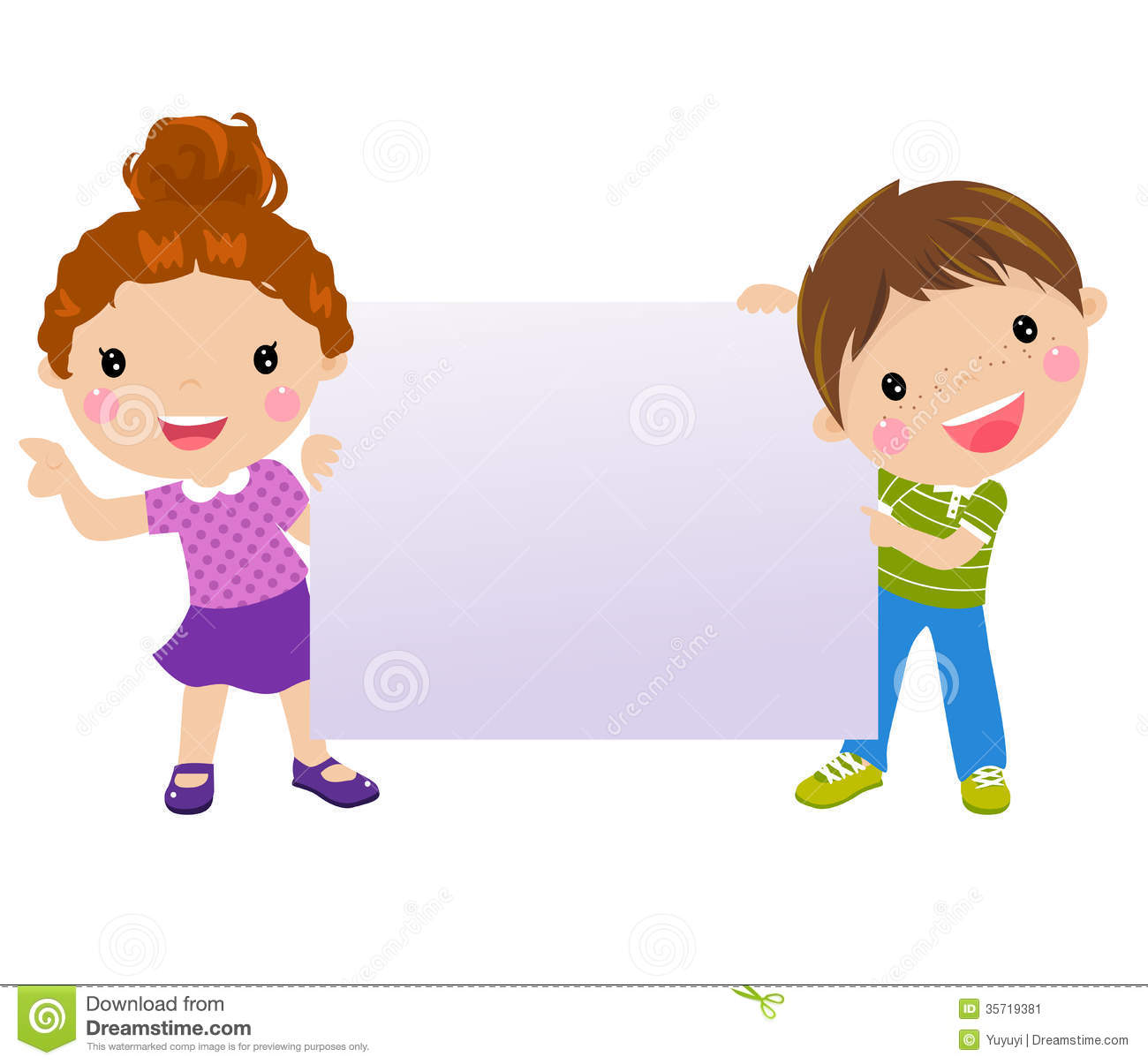 Kids And Banner Stock Image - Image: 35719381