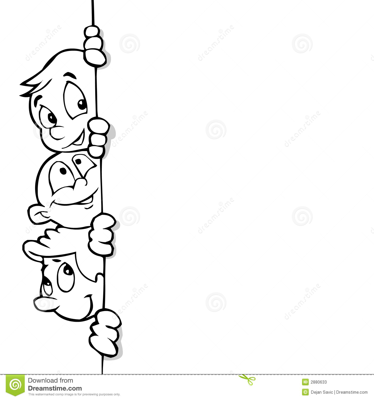 Line Art For Kids : Kids and banner line art stock illustration