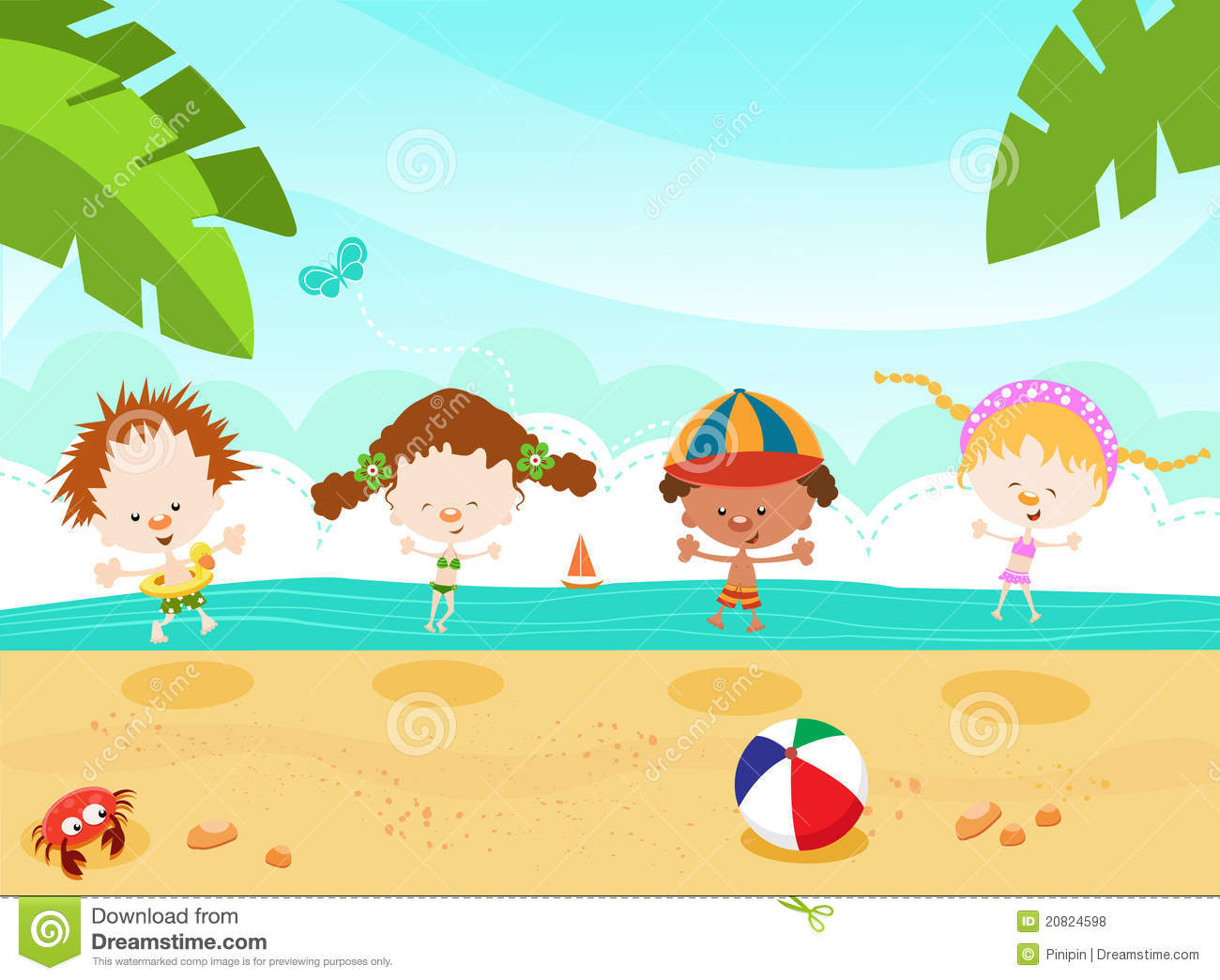 Kids Playing On The Beach Clipart Kids at the beach royalty freeKids Playing On The Beach Clipart